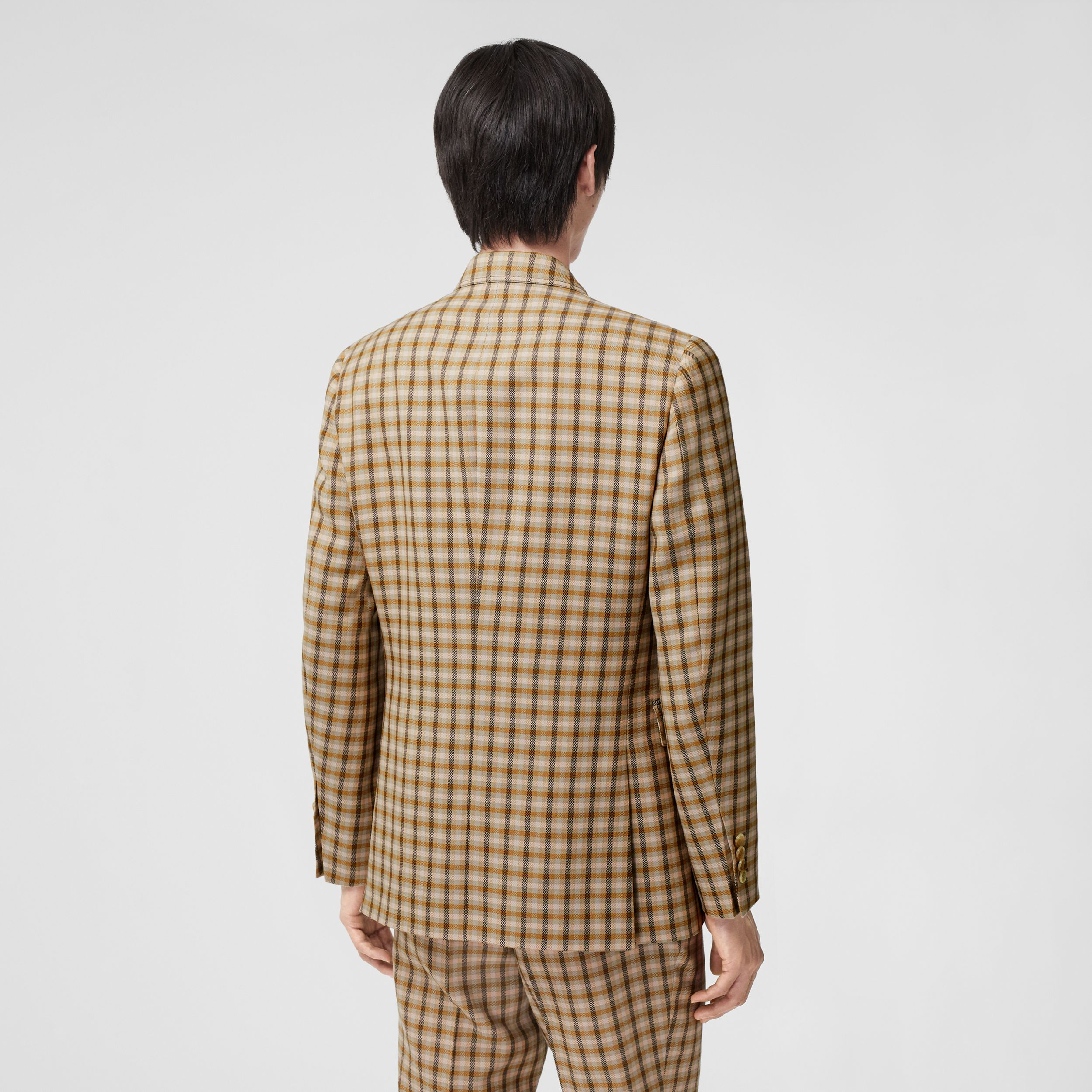Slim Fit Gingham Wool Tailored Jacket in Soft Fawn - Men | Burberry - 3