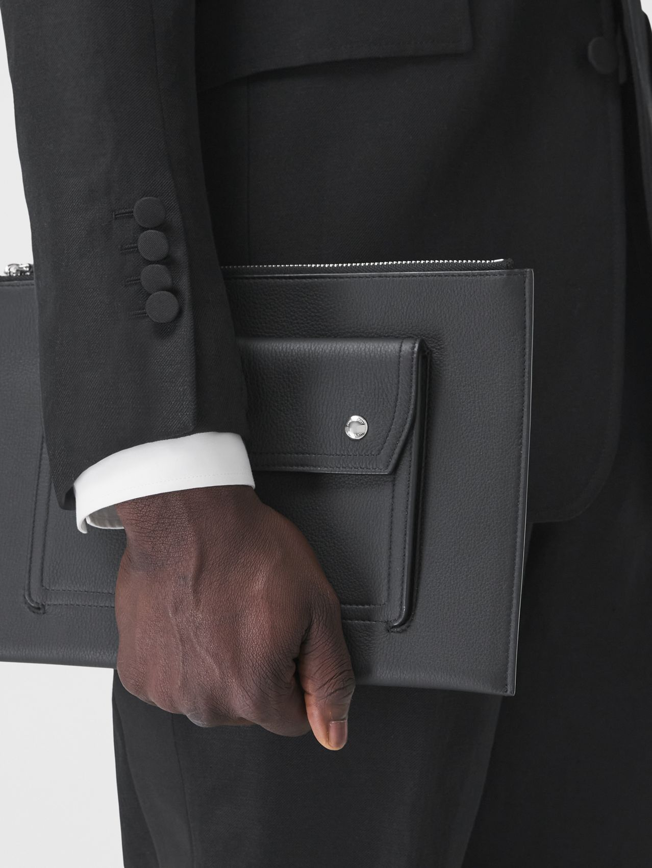 Pocket Detail Grainy Leather Zip Pouch in Black