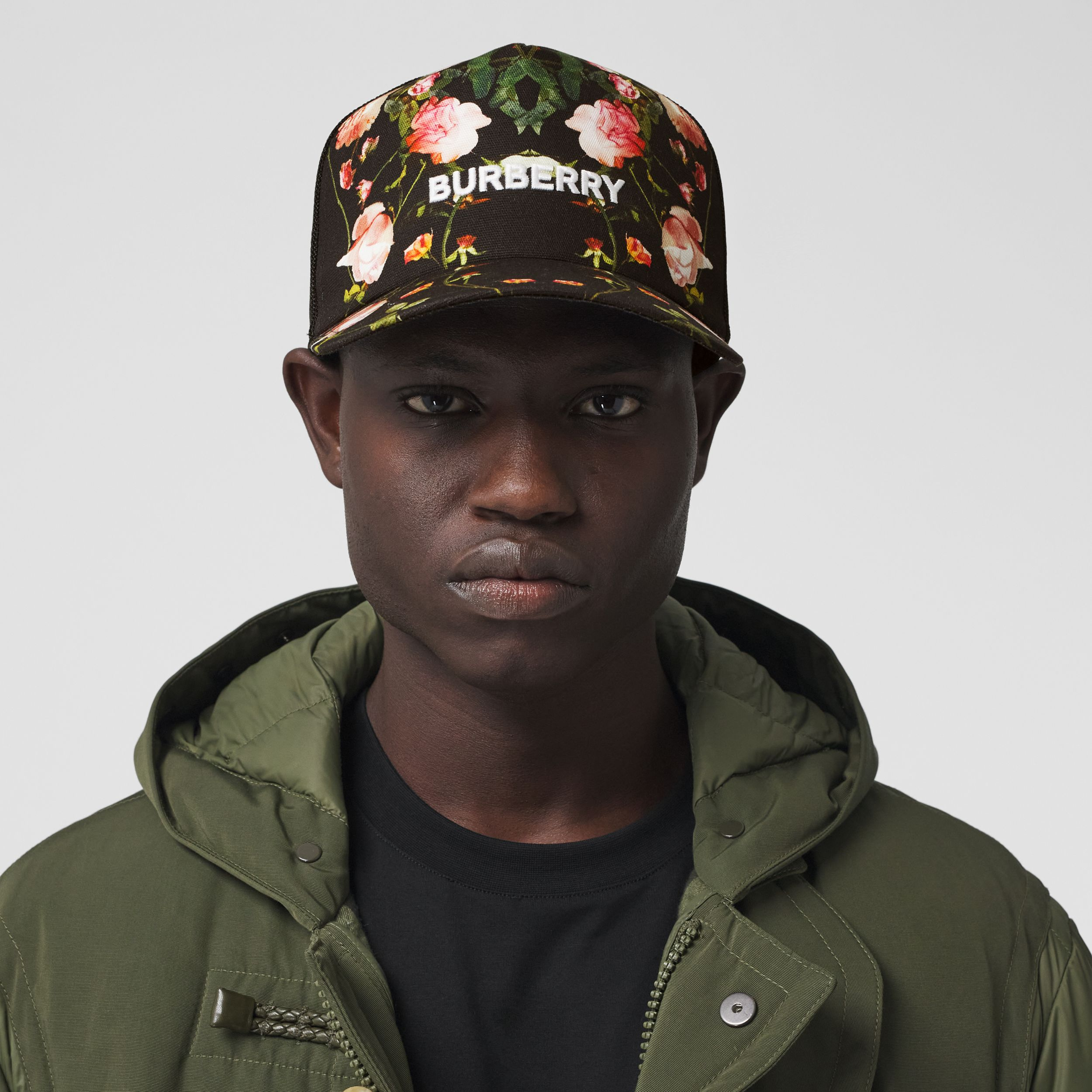 Rose Print Cotton and Mesh Baseball Cap in Black | Burberry - 4