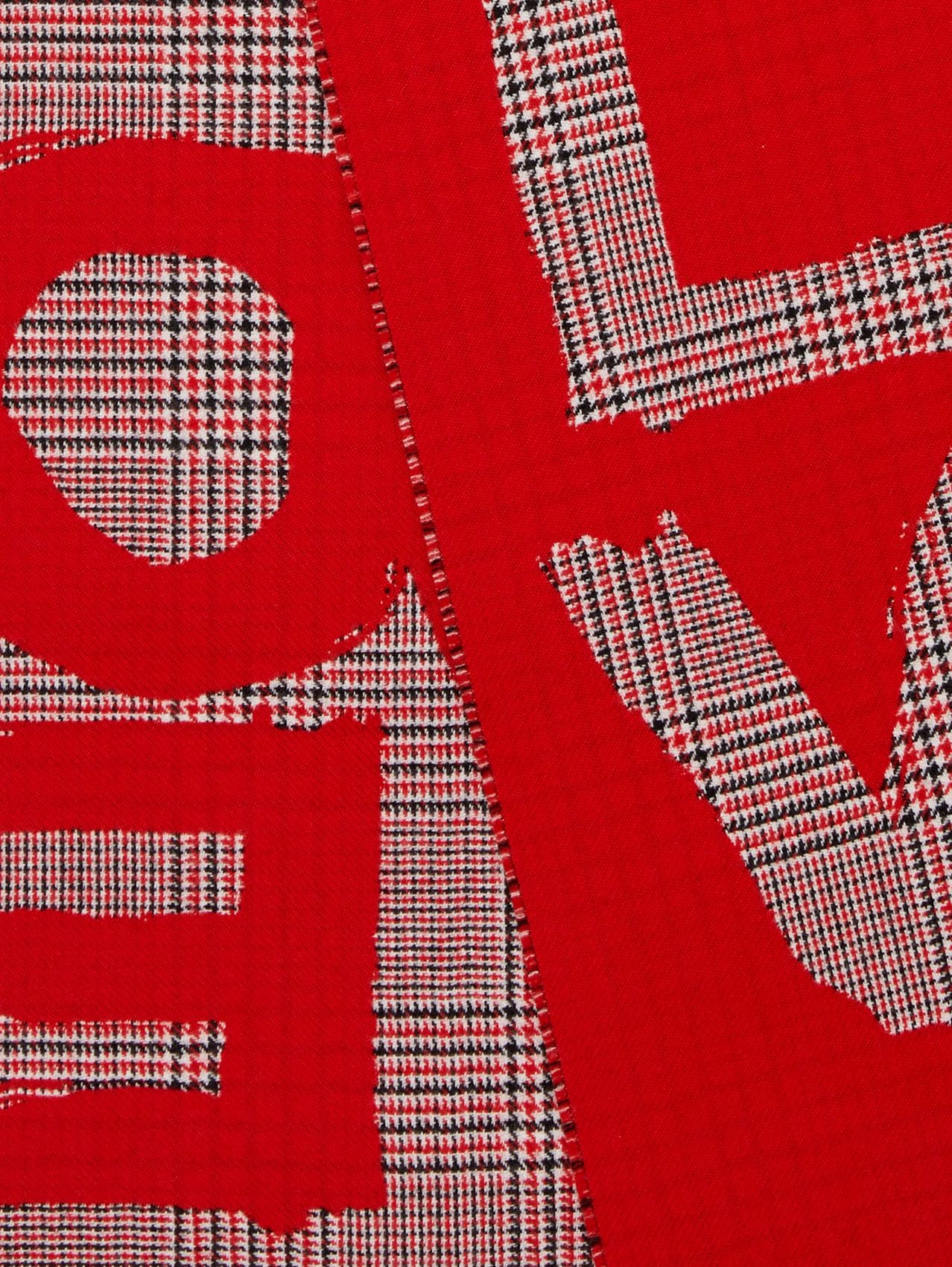 Love and Houndstooth Check Wool Jacquard Scarf in Bright Red