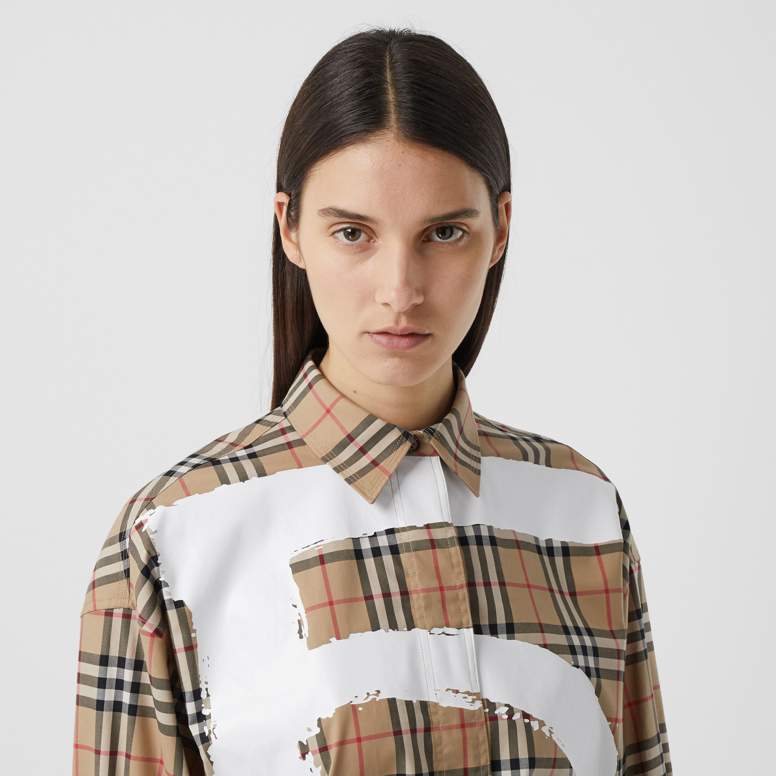 Love Print Vintage Check Cotton Oversized Shirt in Archive Beige - Women | Burberry - 2