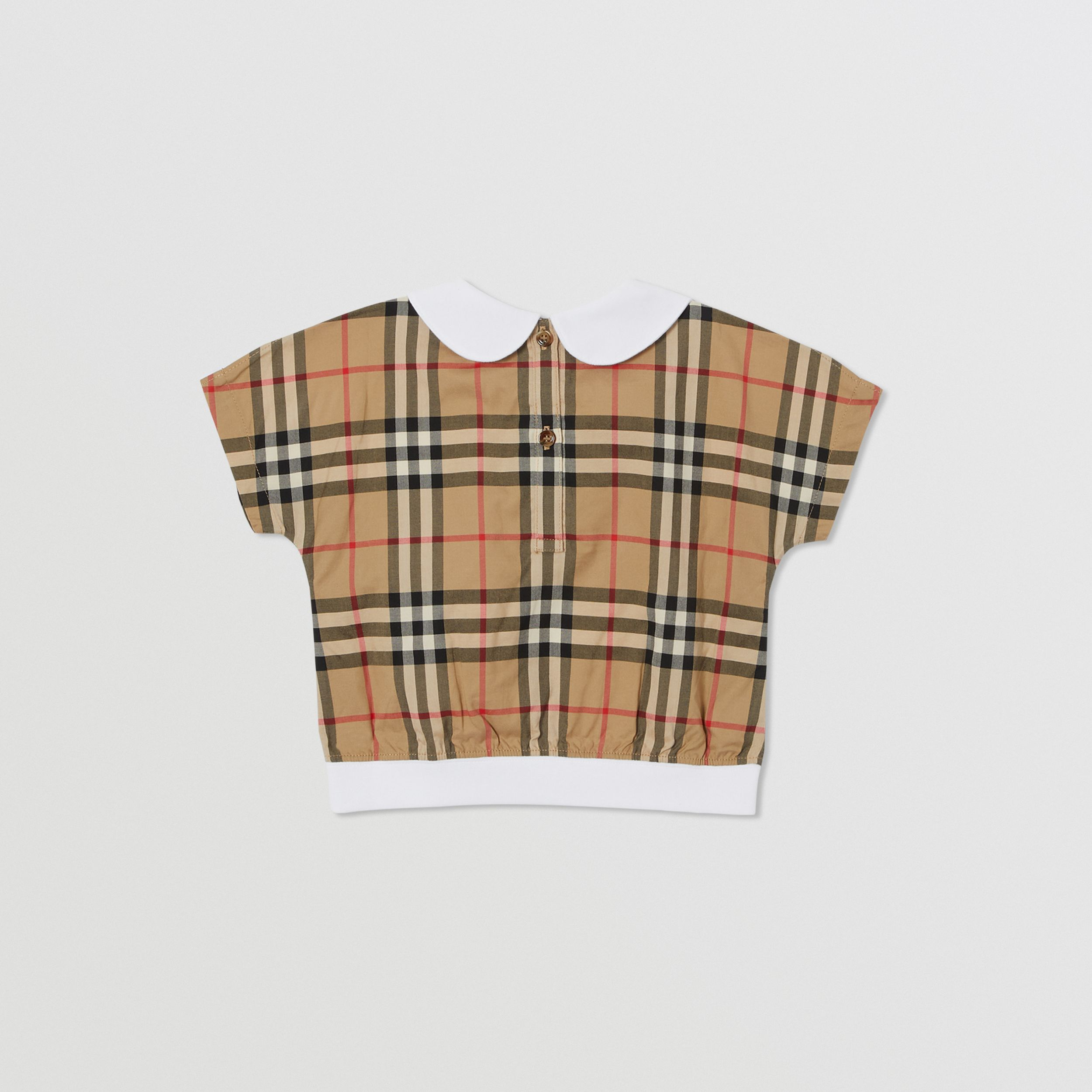 Peter Pan Collar Vintage Check Panel Cotton T-Shirt in Archive Beige - Children | Burberry United Kingdom - 4