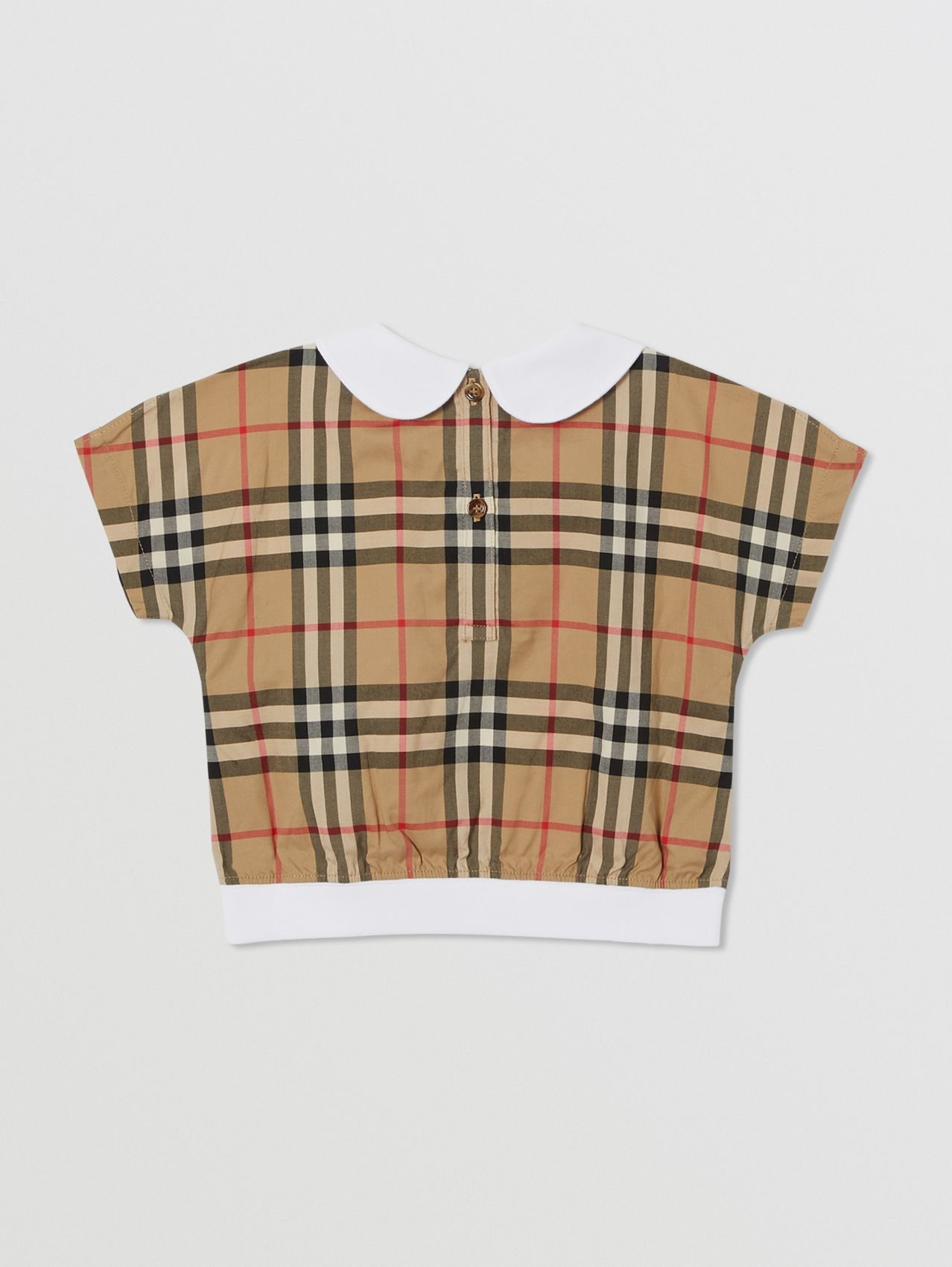 Peter Pan Collar Vintage Check Panel Cotton T-Shirt in Archive Beige
