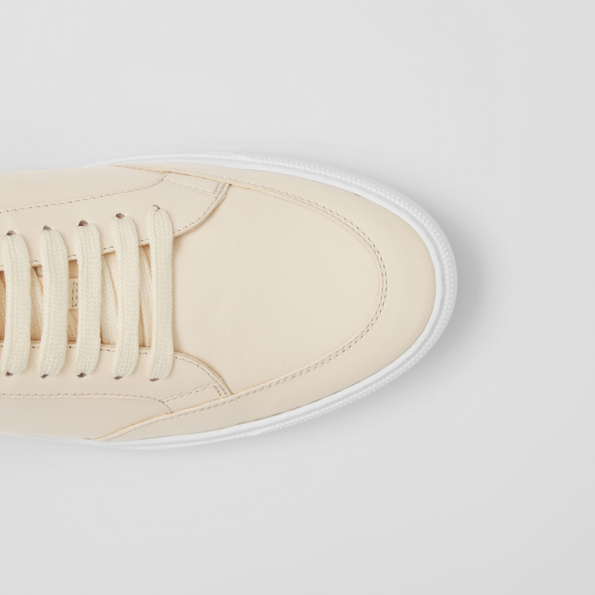 Logo Detail Lambskin Sneakers in Pale Biscuit - Women | Burberry - 2