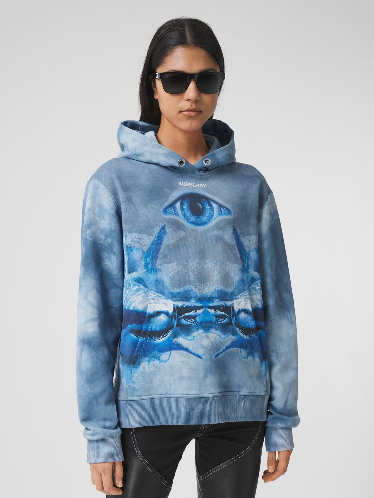 Shark Print Cotton Oversized Hoodie in Ink Blue