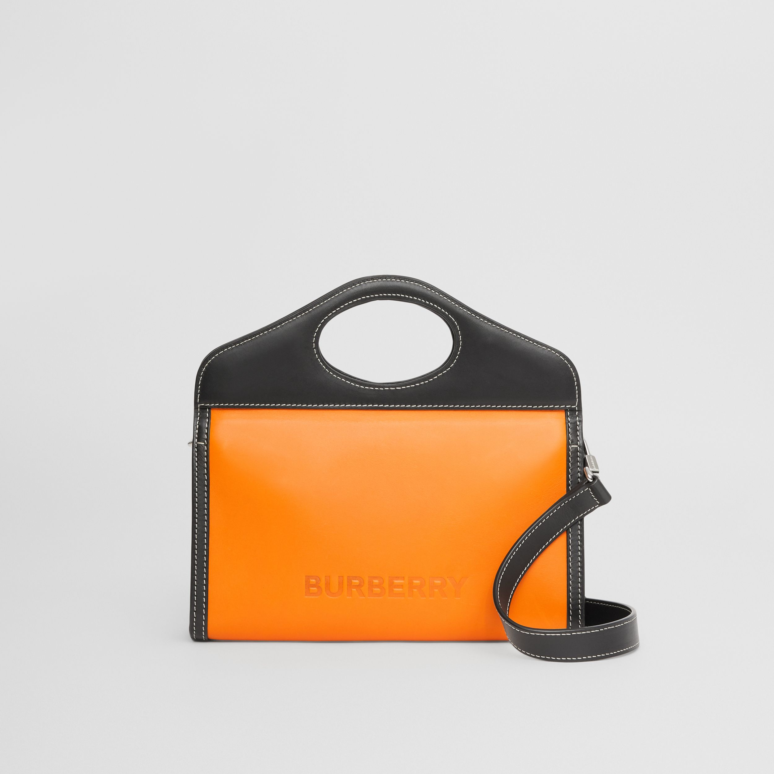 Two-tone Leather Foldover Pocket Bag in Deep Orange/black - Men | Burberry Australia - 3