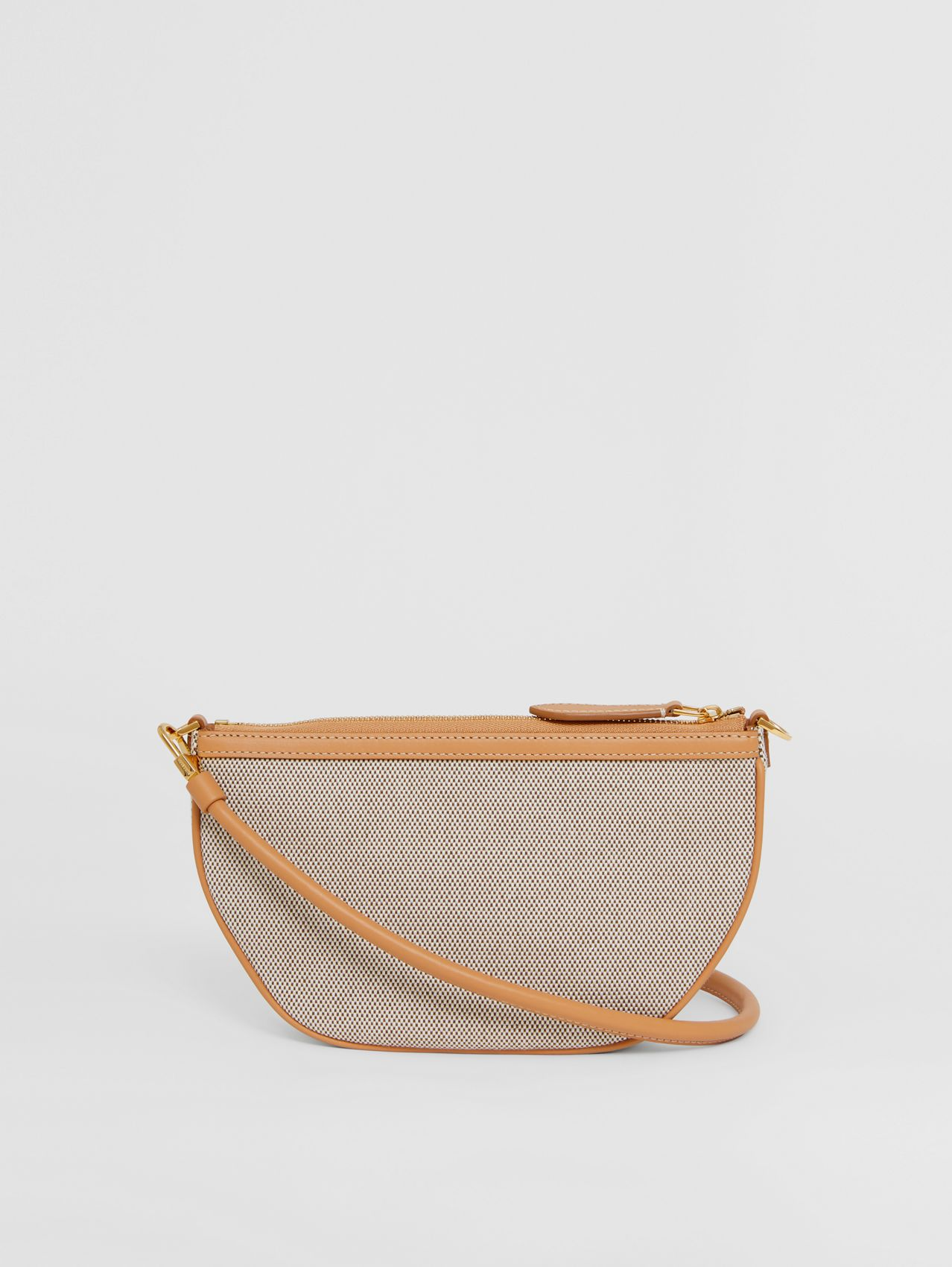 Embossed Logo Canvas and Leather Olympia Pouch in Soft Fawn/warm Sand