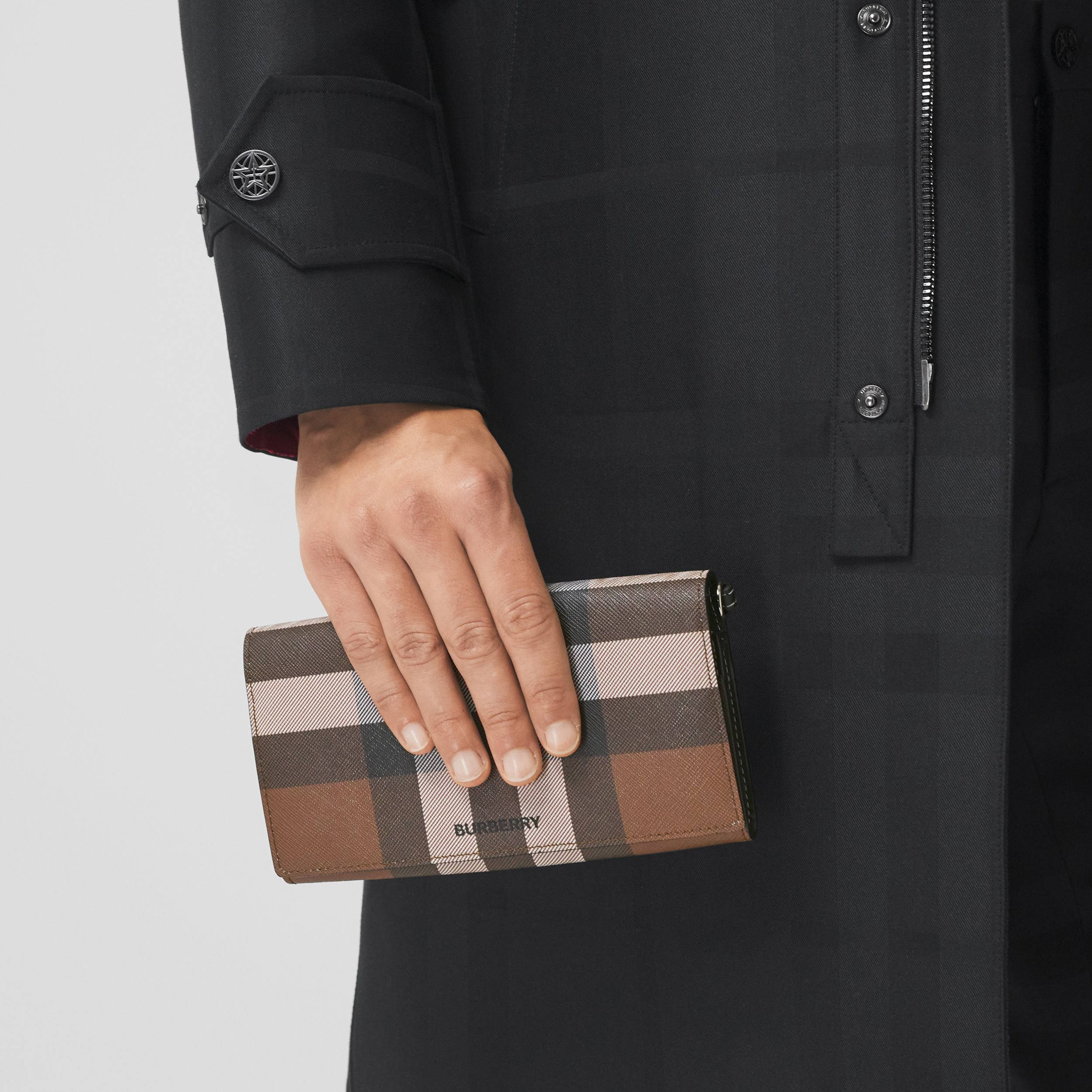 Check E-canvas Wallet with Detachable Strap in Dark Birch Brown | Burberry - 4
