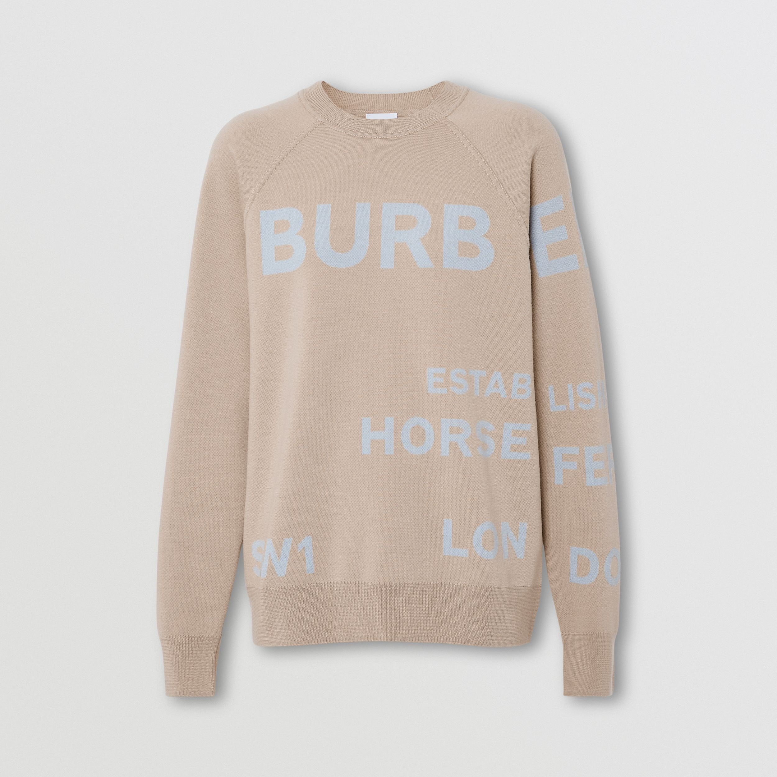 Horseferry Merino Wool Blend Jacquard Sweater in Soft Fawn - Women | Burberry United Kingdom - 4