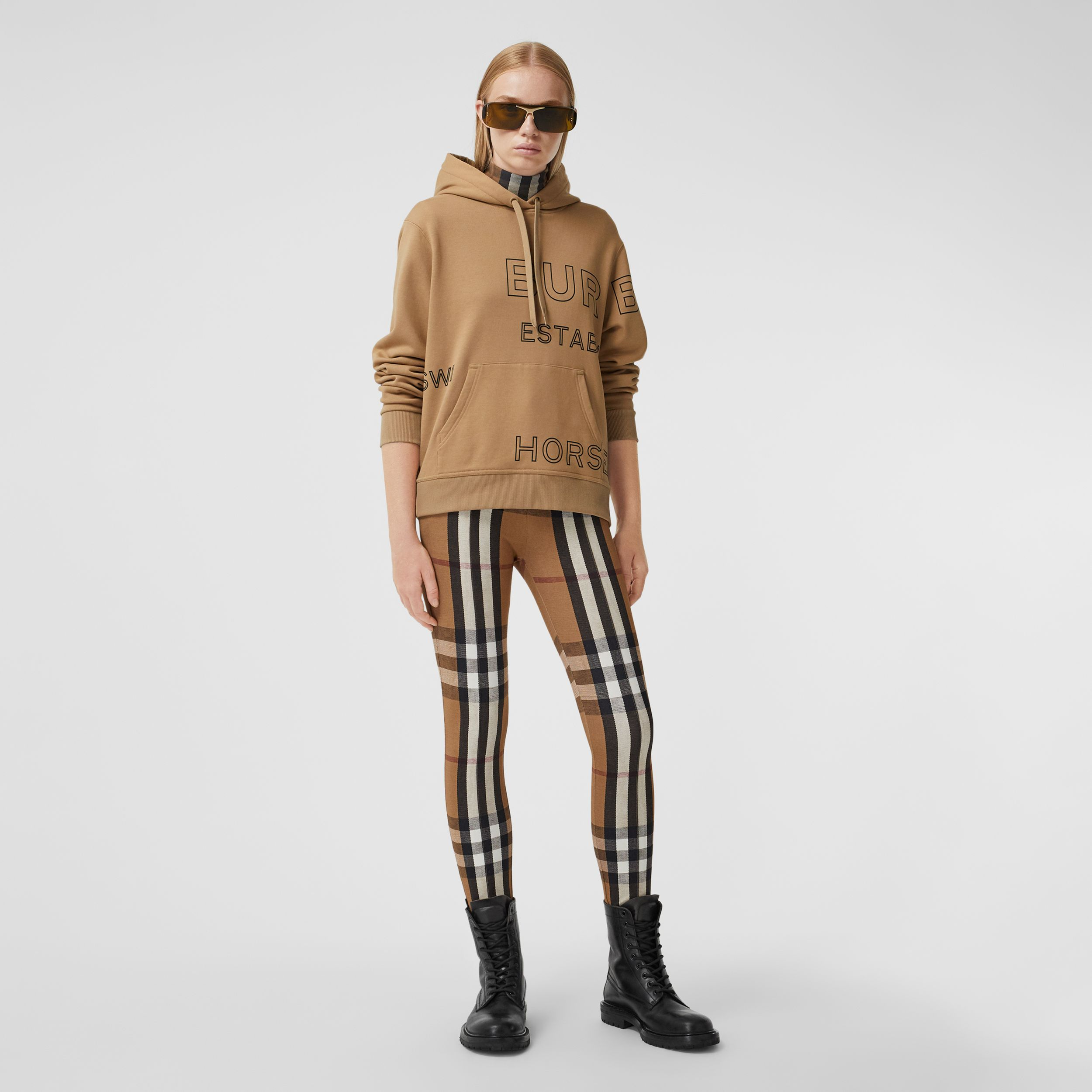 Horseferry Print Cotton Oversized Hoodie in Archive Beige - Women | Burberry - 1