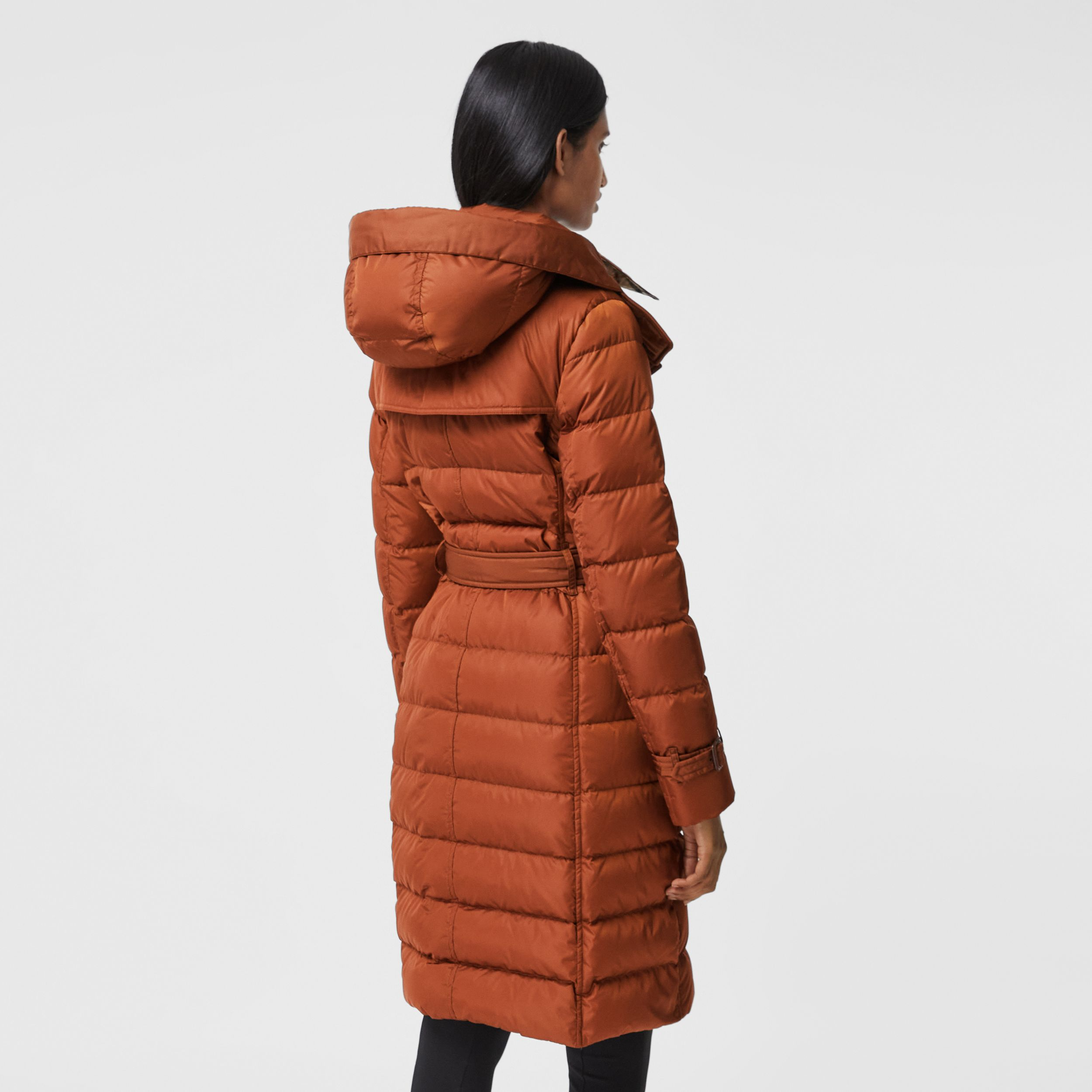 Logo Appliqué Detachable Hood Puffer Coat in Warm Brown - Women | Burberry Australia - 3
