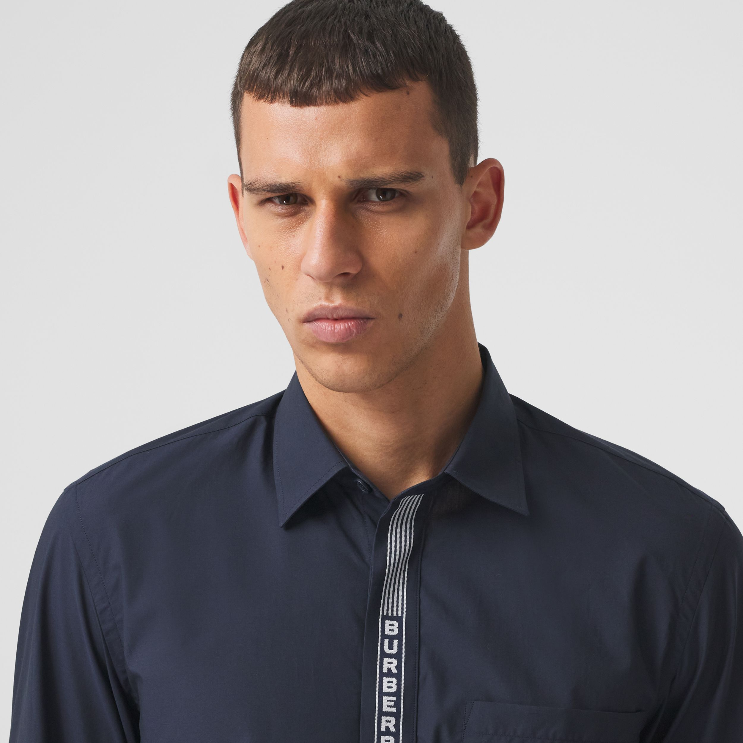 Logo Tape Cotton Shirt in Navy/white - Men | Burberry Hong Kong S.A.R. - 2