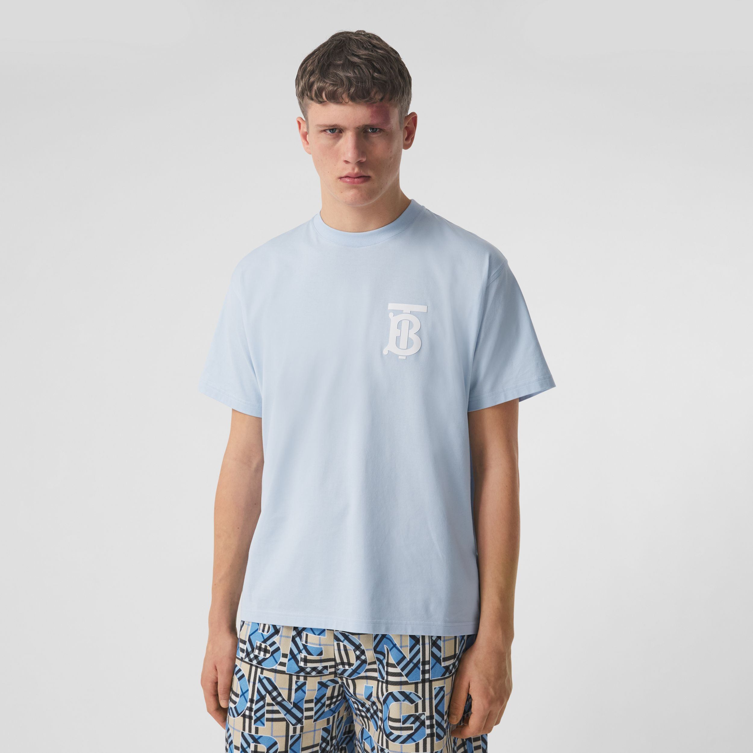 Monogram Motif Cotton Oversized T-shirt in Pale Blue - Men | Burberry - 1