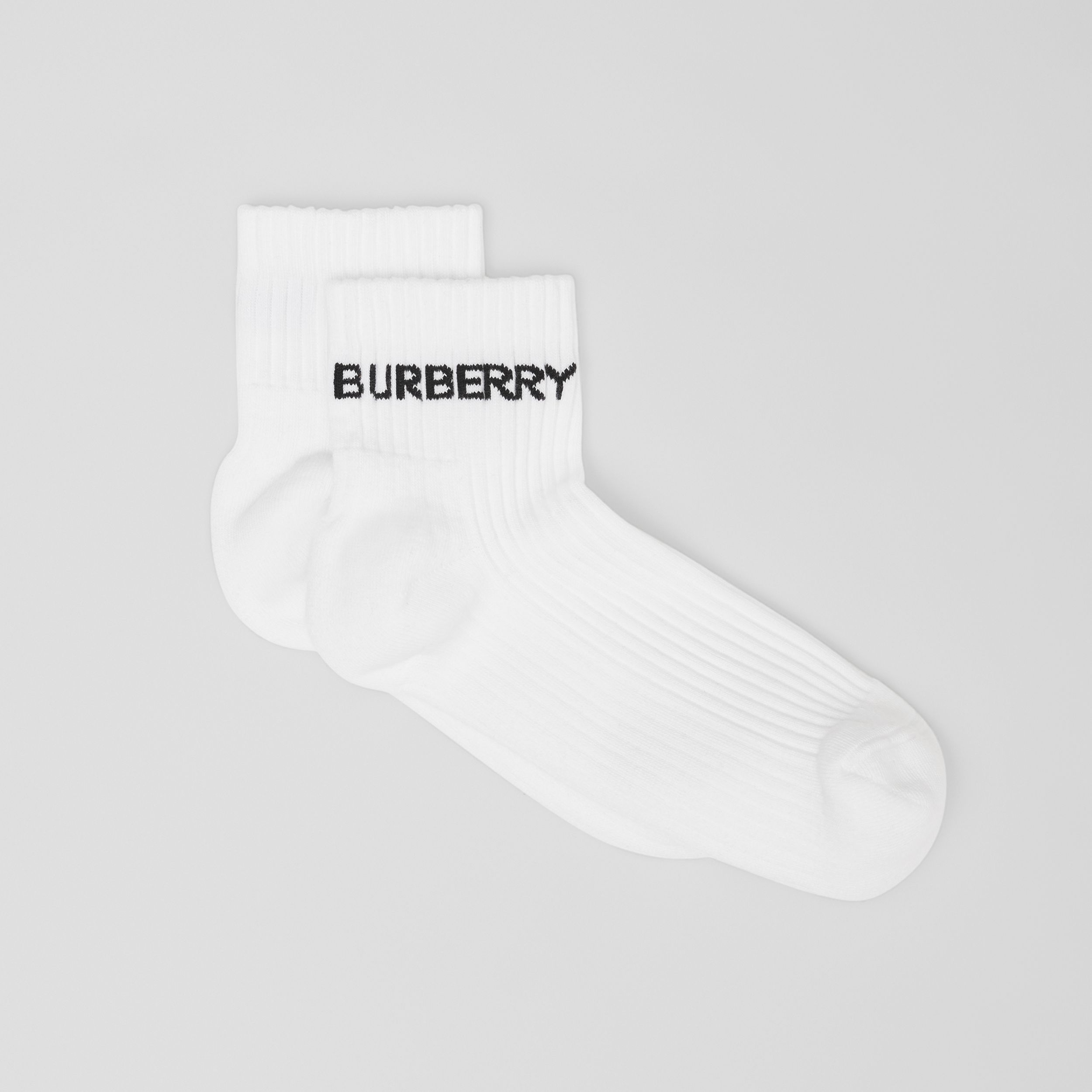 Logo Intarsia Technical Stretch Cotton Ankle Socks in White | Burberry Canada - 3