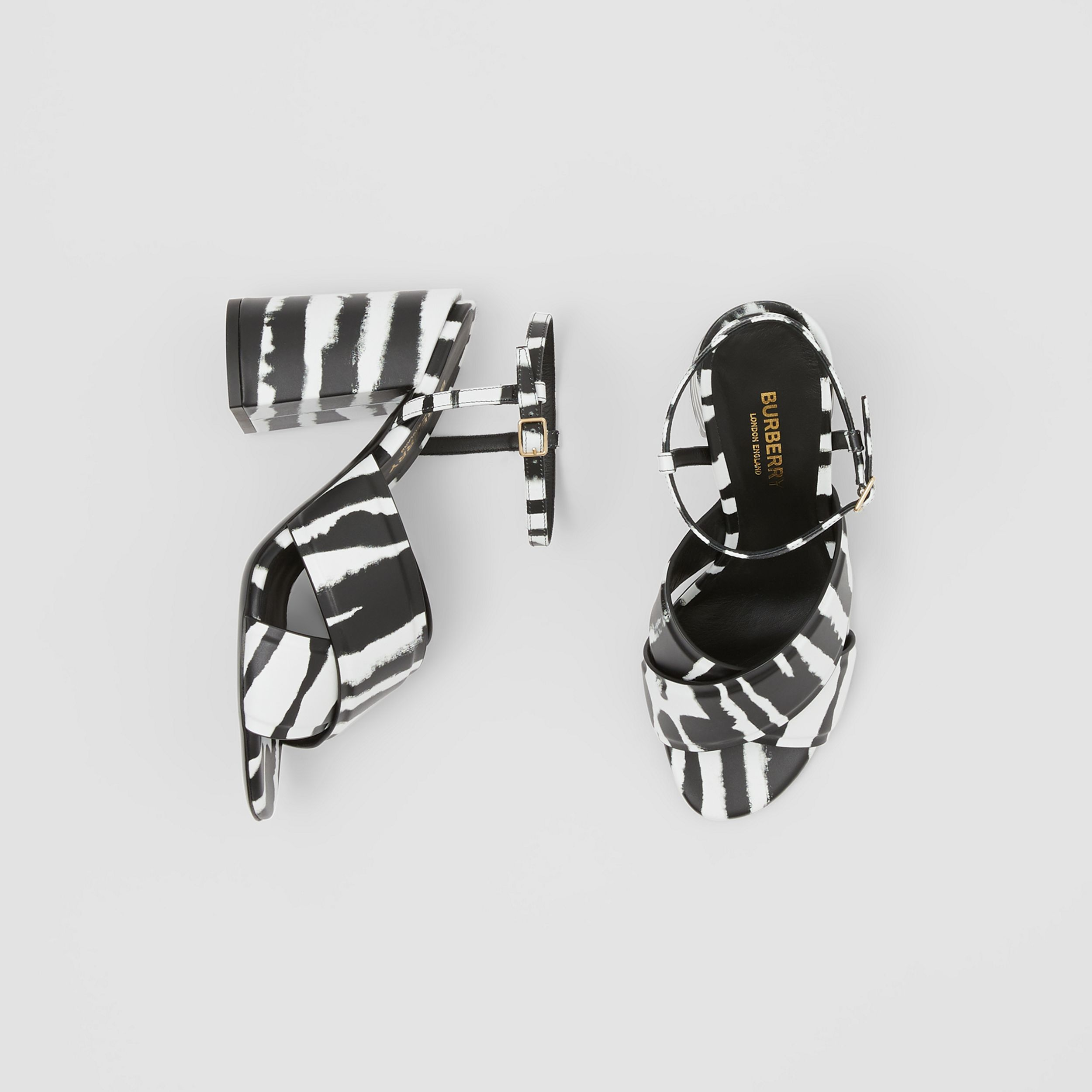 Watercolour Print Leather Block-heel Sandals in Black/white - Women | Burberry - 1