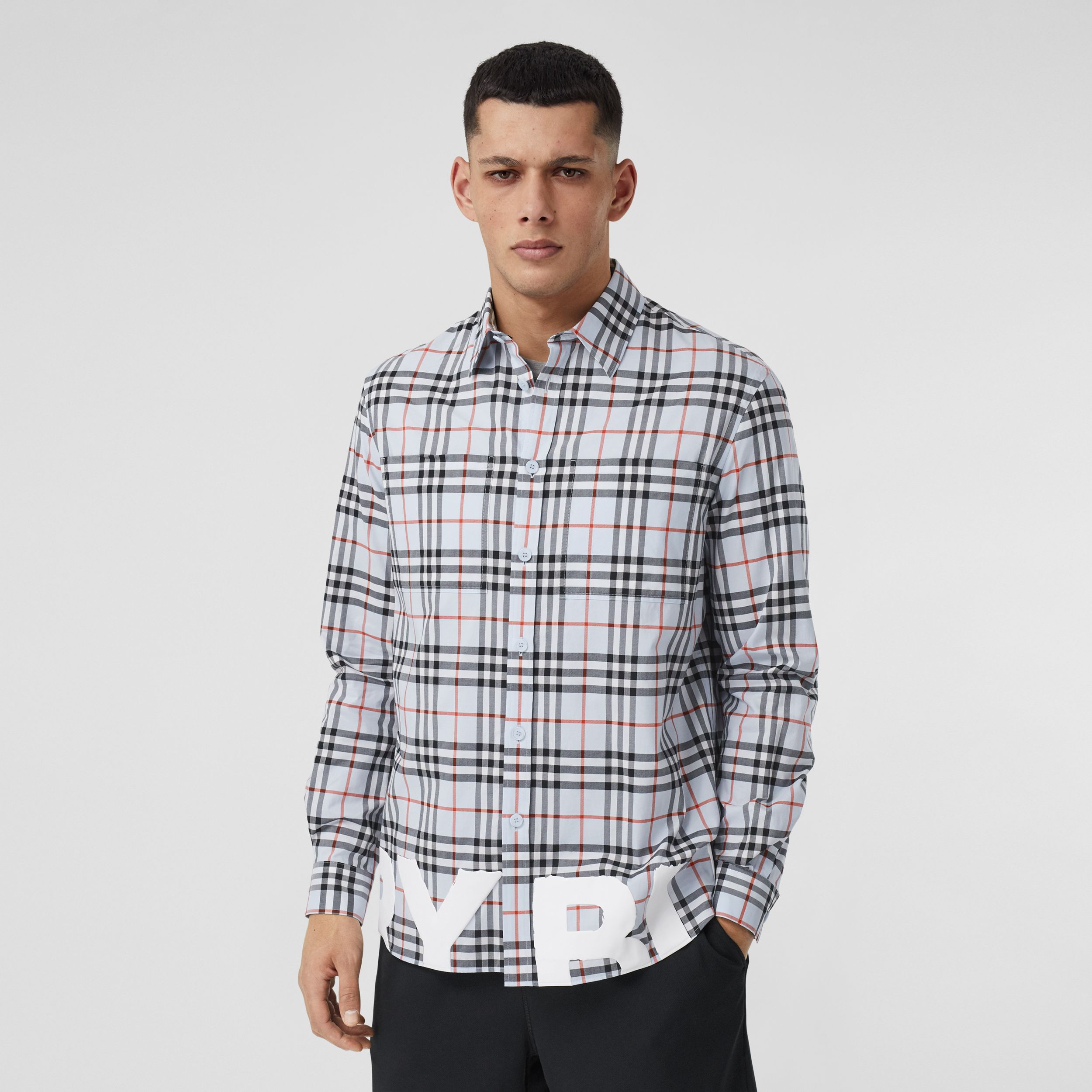 Logo Print Vintage Check Cotton Oversized Shirt – Online Exclusive in Pale Blue - Men | Burberry United Kingdom - 1