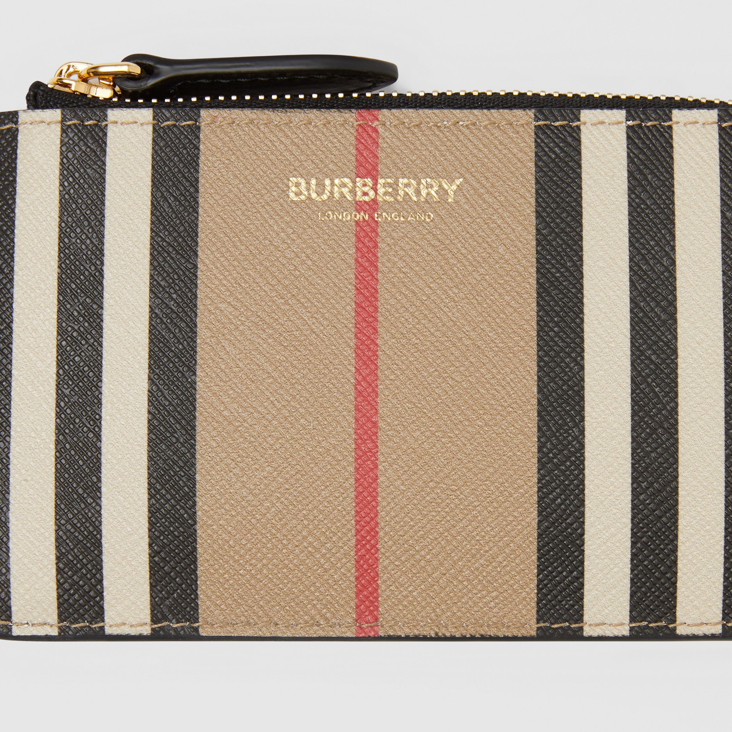 Icon Stripe E-canvas Zip Coin Case in Archive Beige - Women | Burberry - 2
