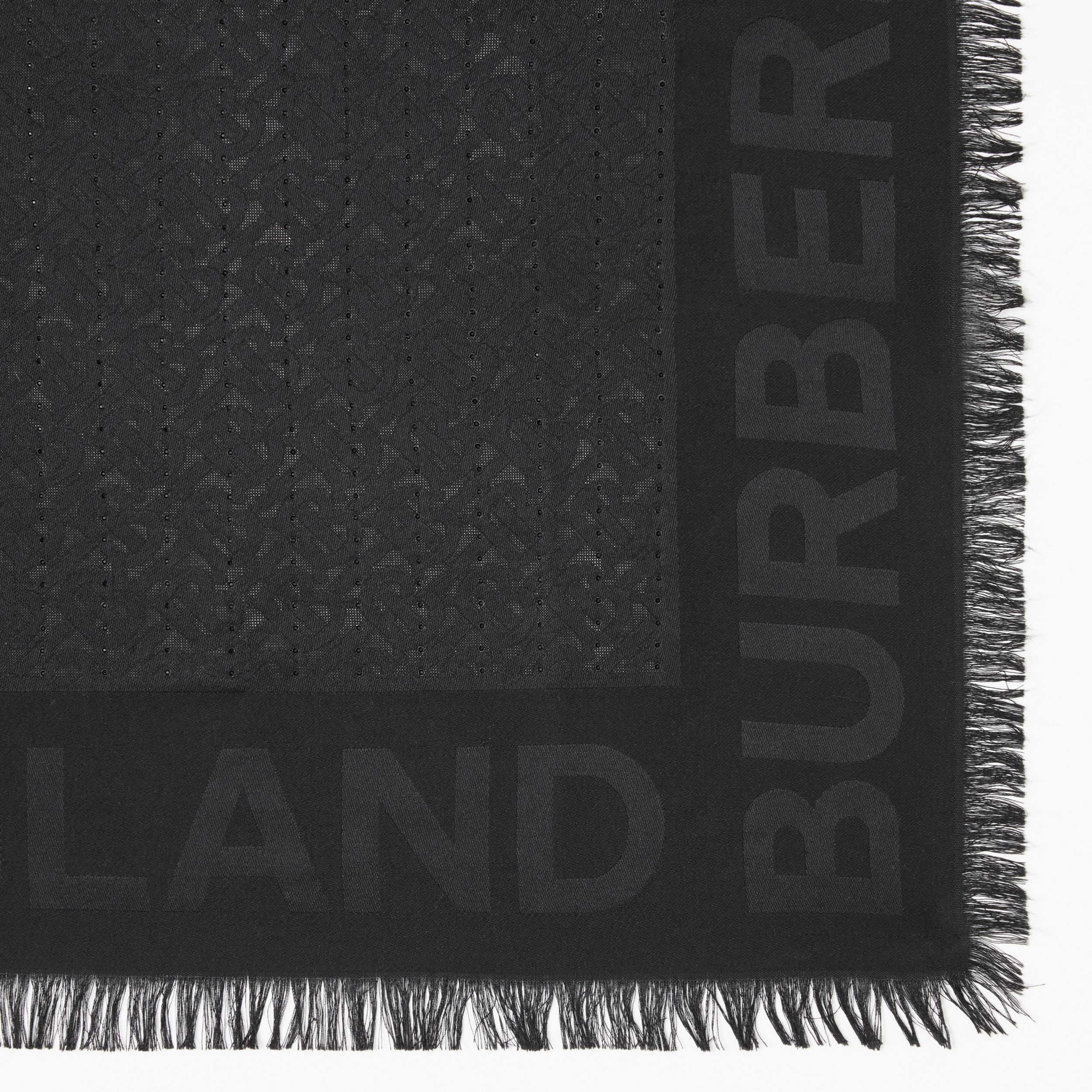 Crystal Pinstriped Silk Wool Large Square Scarf | Burberry - 2