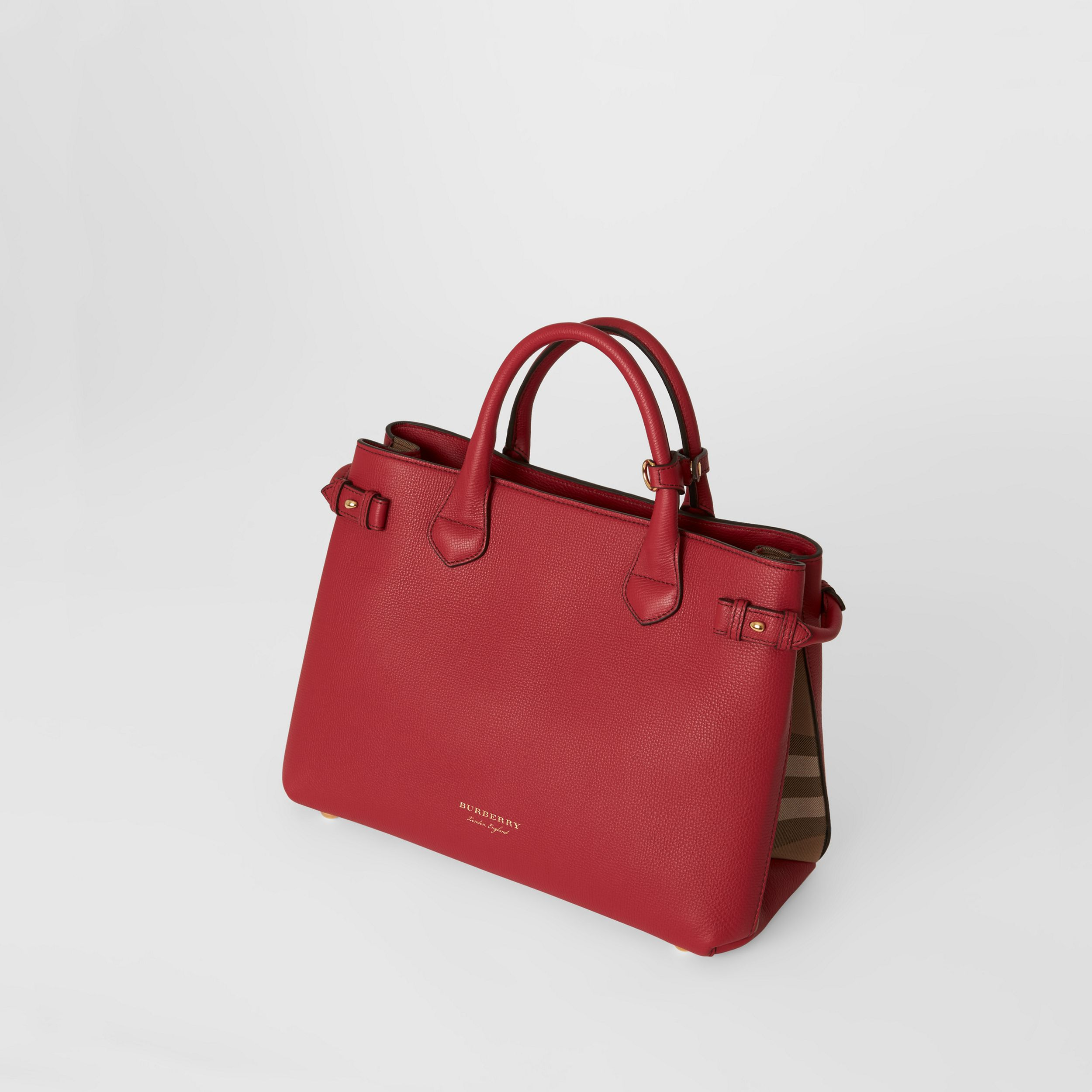 The Medium Banner in Leather and House Check in Russet Red - Women | Burberry - 3