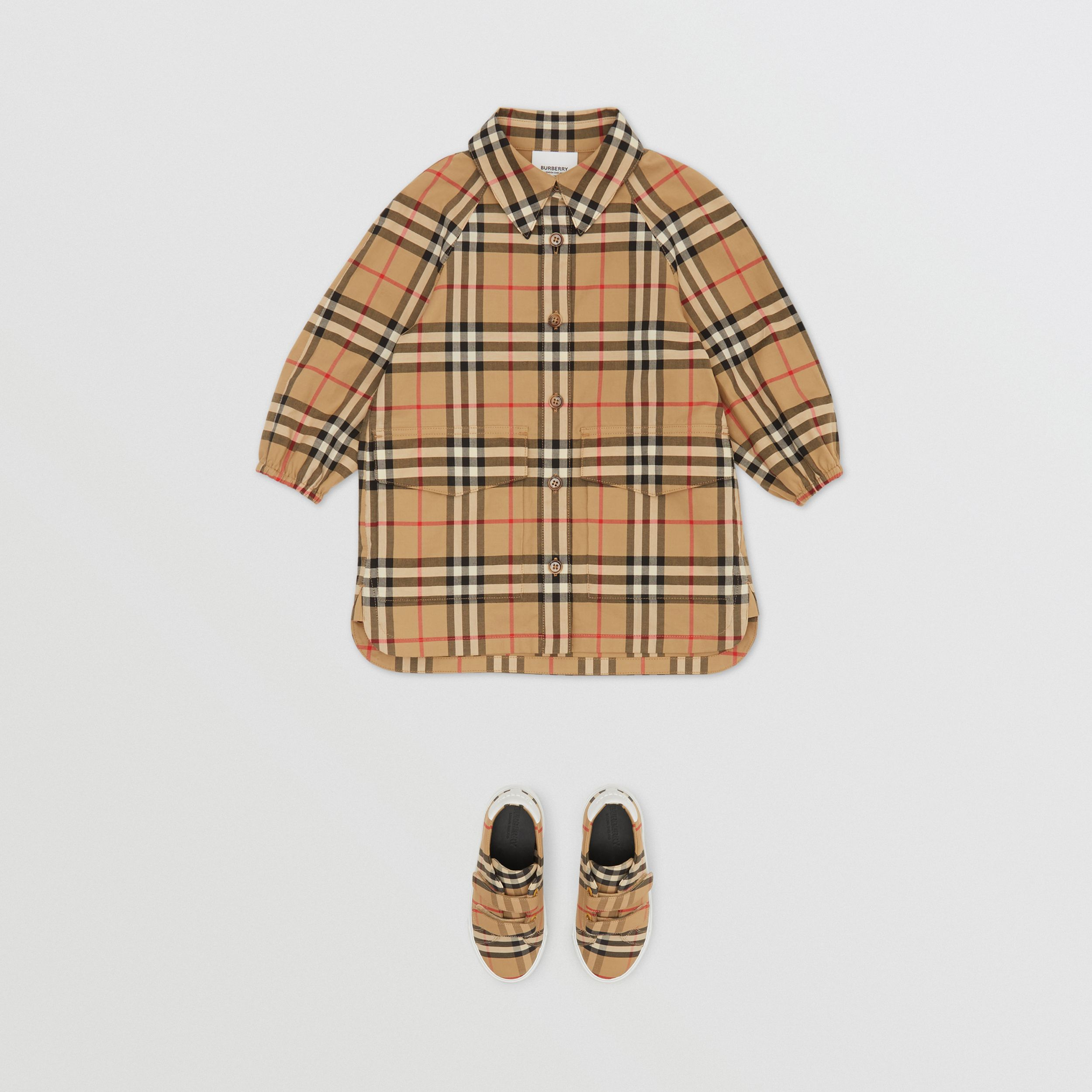 Vintage Check Cotton Shirt Dress in Archive Beige - Children | Burberry Australia - 3