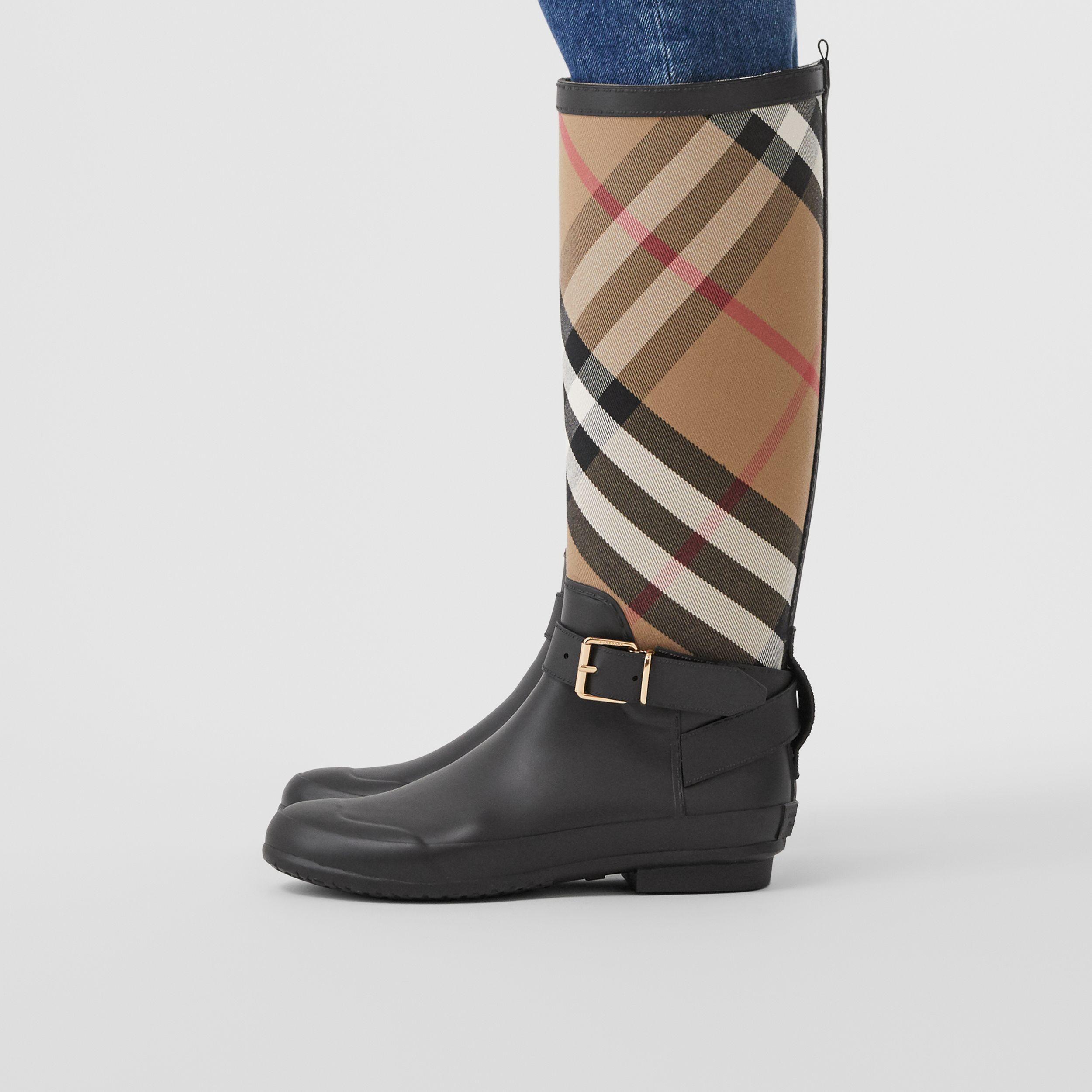 Strap Detail House Check and Rubber Rain Boots in Black/archive Beige - Women | Burberry Australia - 3