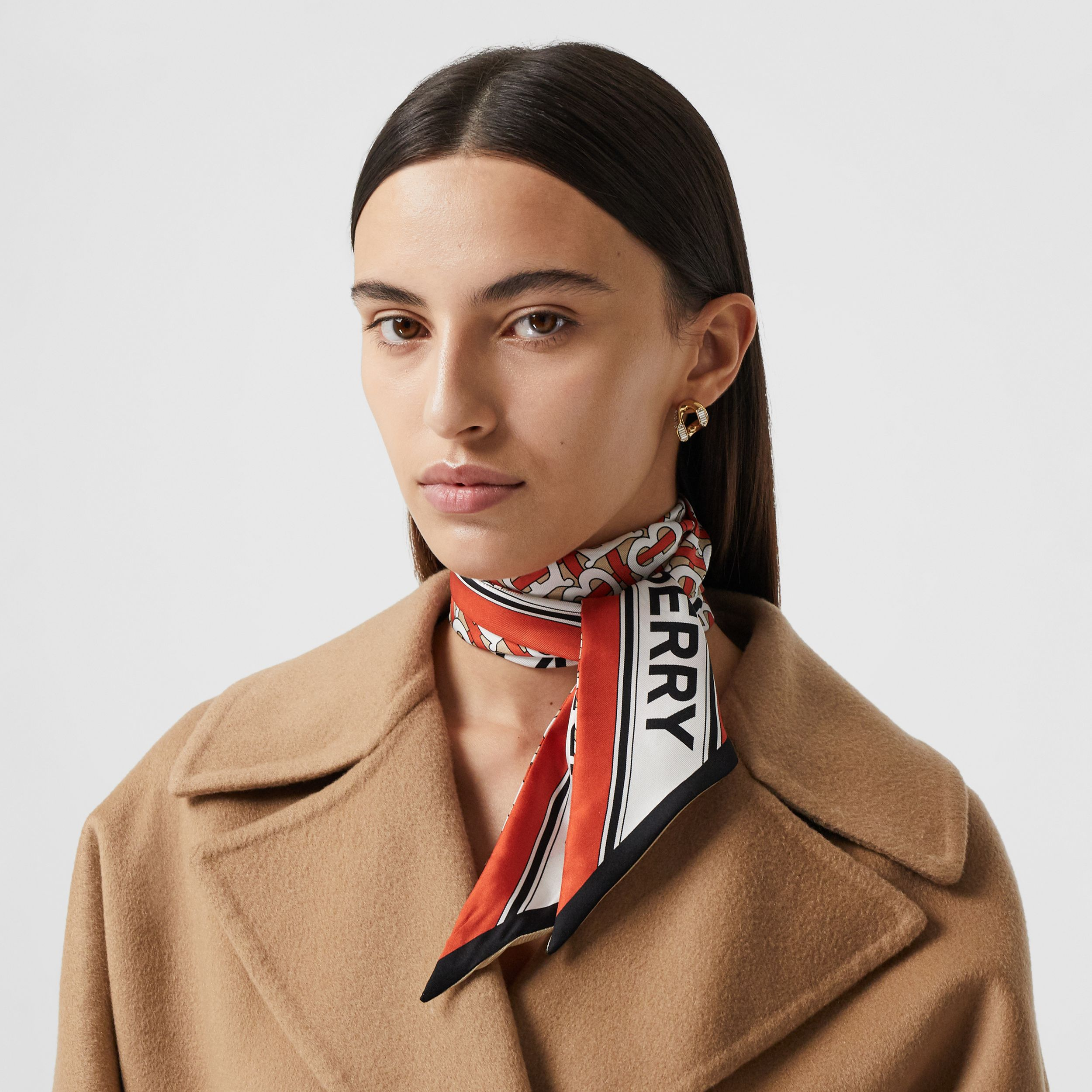 Monogram and Logo Print Silk Skinny Scarf in Vermilion | Burberry Australia - 3