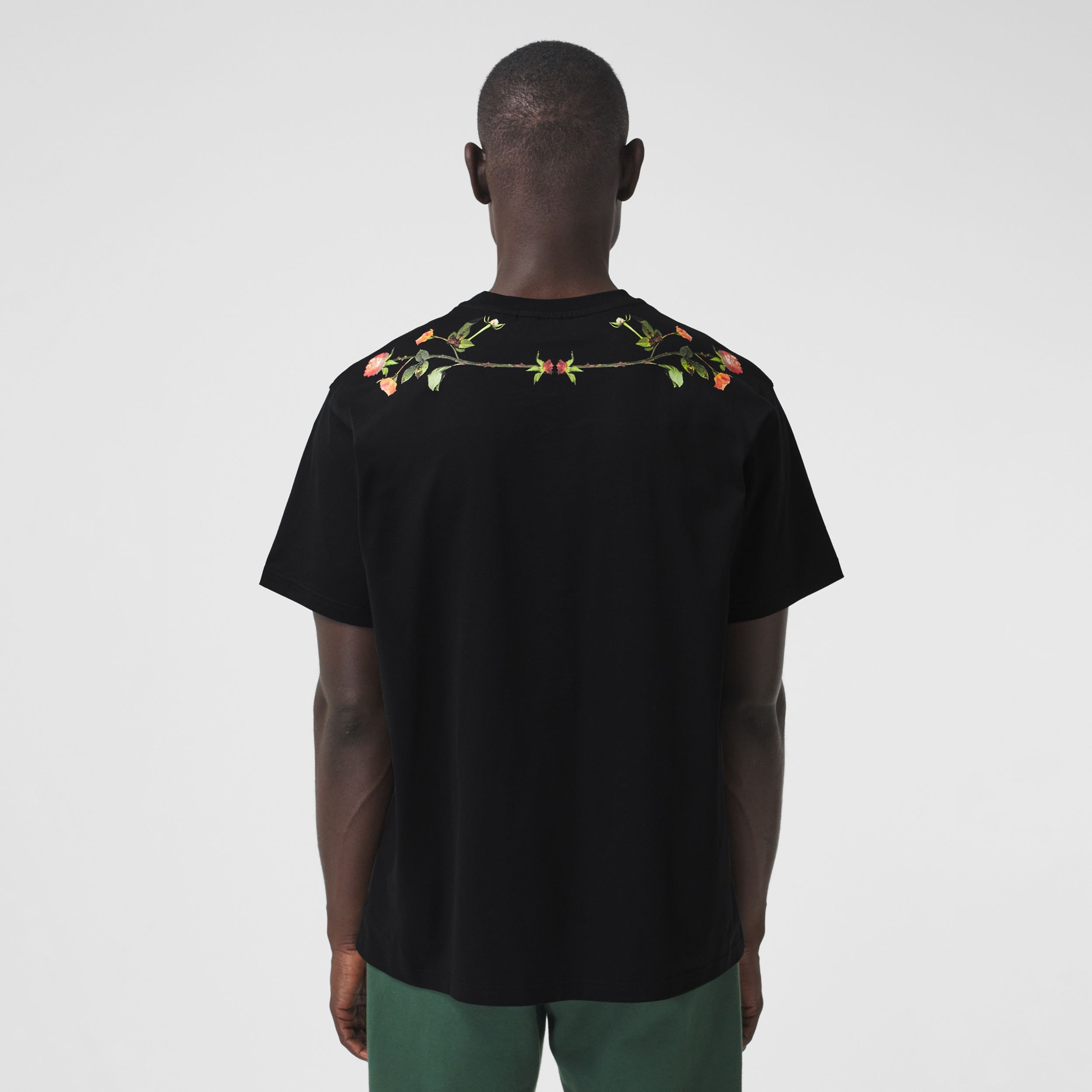Montage Print Cotton Oversized T-shirt in Black - Men | Burberry - 3