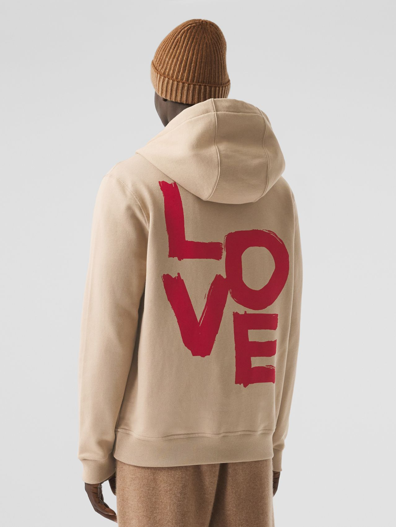 Love Print Cotton Hooded Top in Soft Fawn