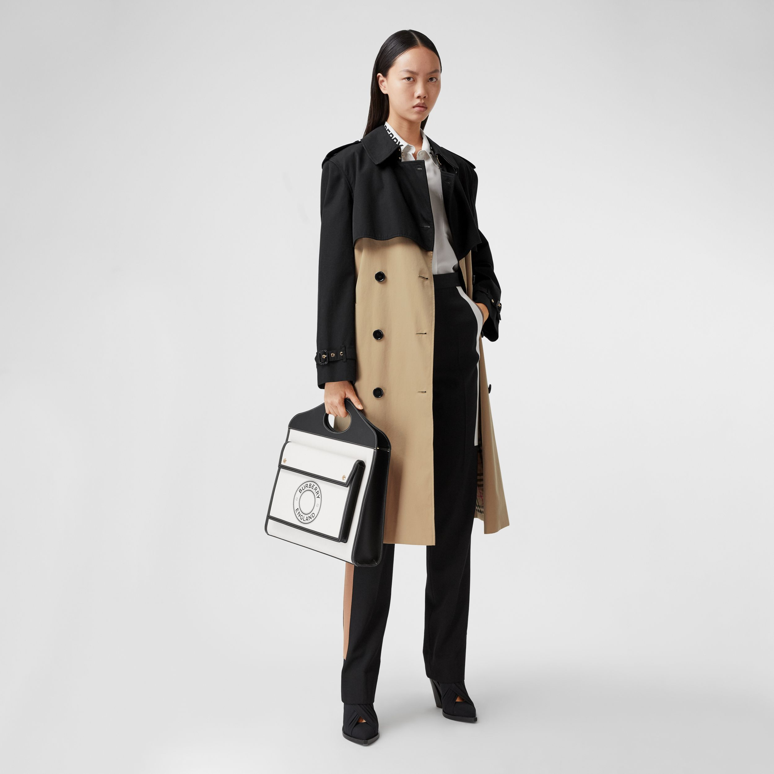 Two-tone Reconstructed Trench Coat in Black - Women | Burberry - 1