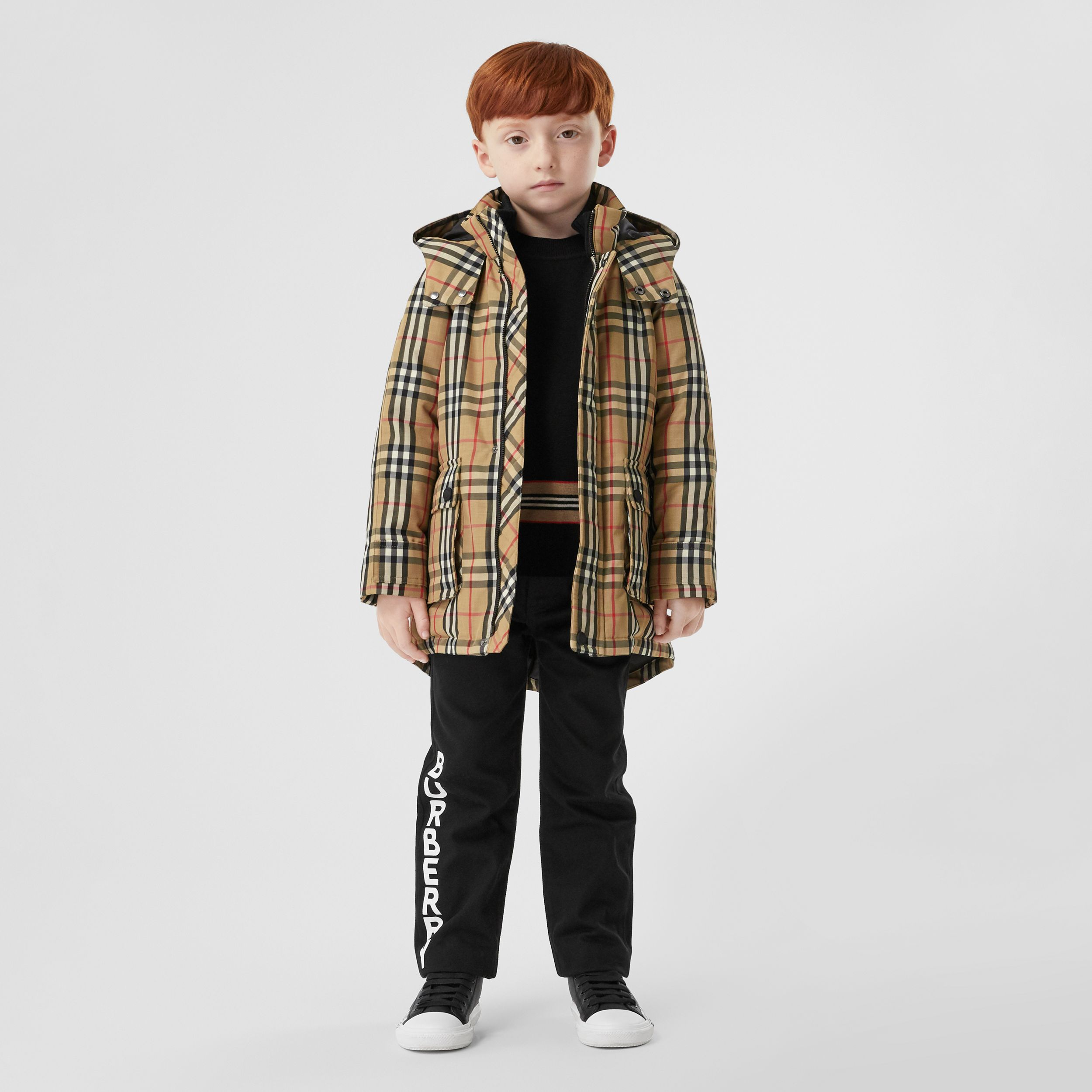 Vintage Check Down-filled Hooded Coat in Archive Beige | Burberry - 3