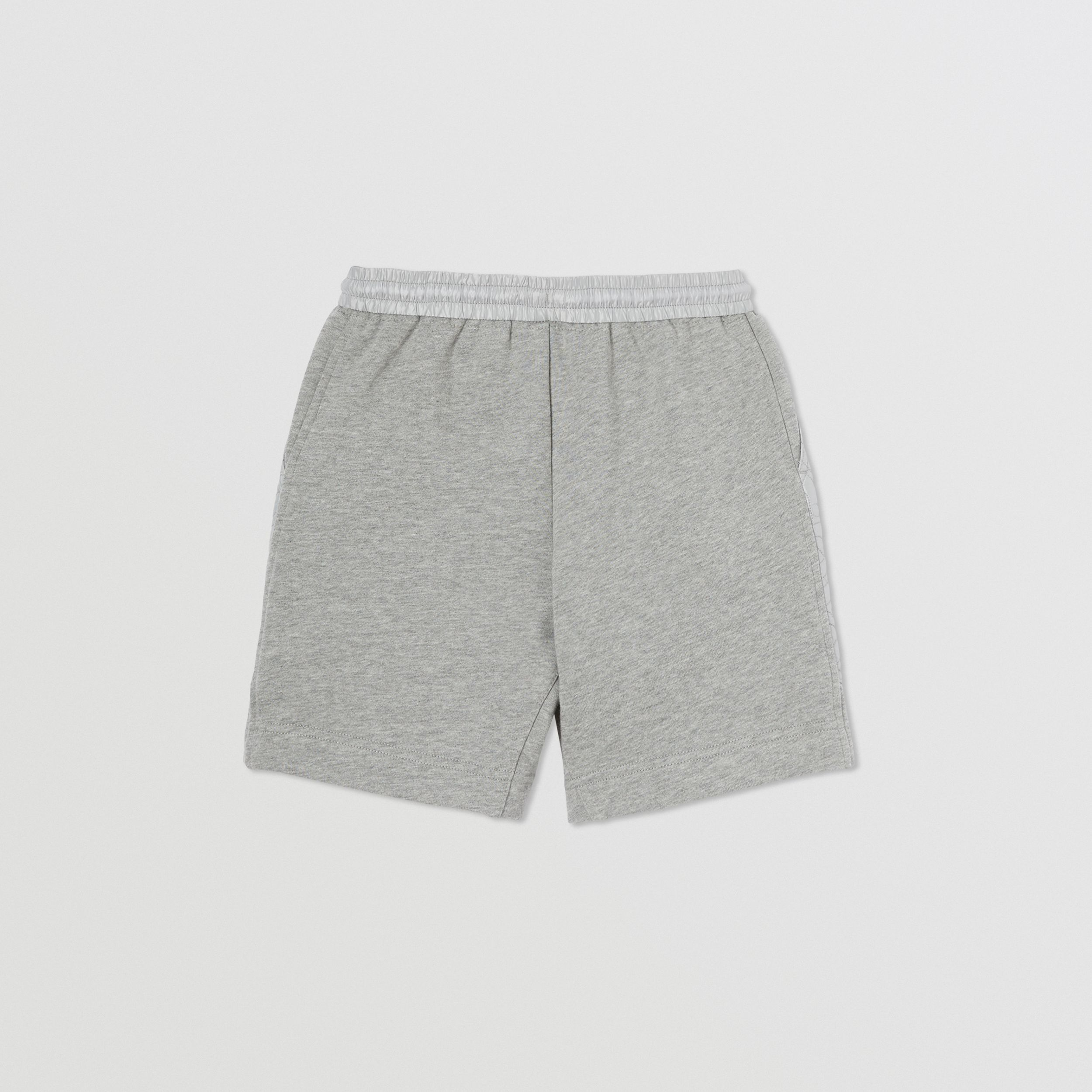 Monogram Quilted Panel Cotton Shorts in Grey Melange | Burberry - 4