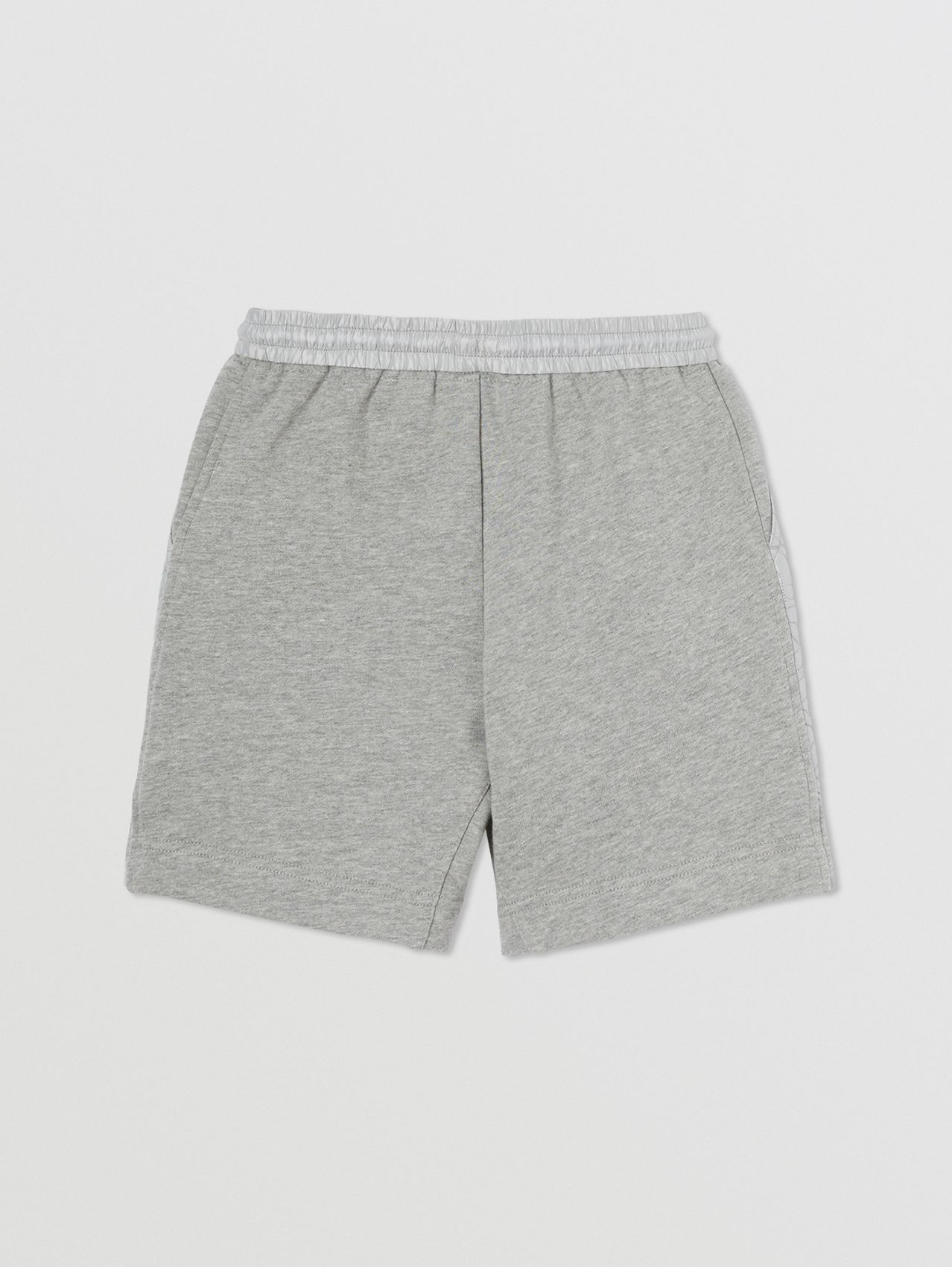 Monogram Quilted Panel Cotton Shorts in Grey Melange