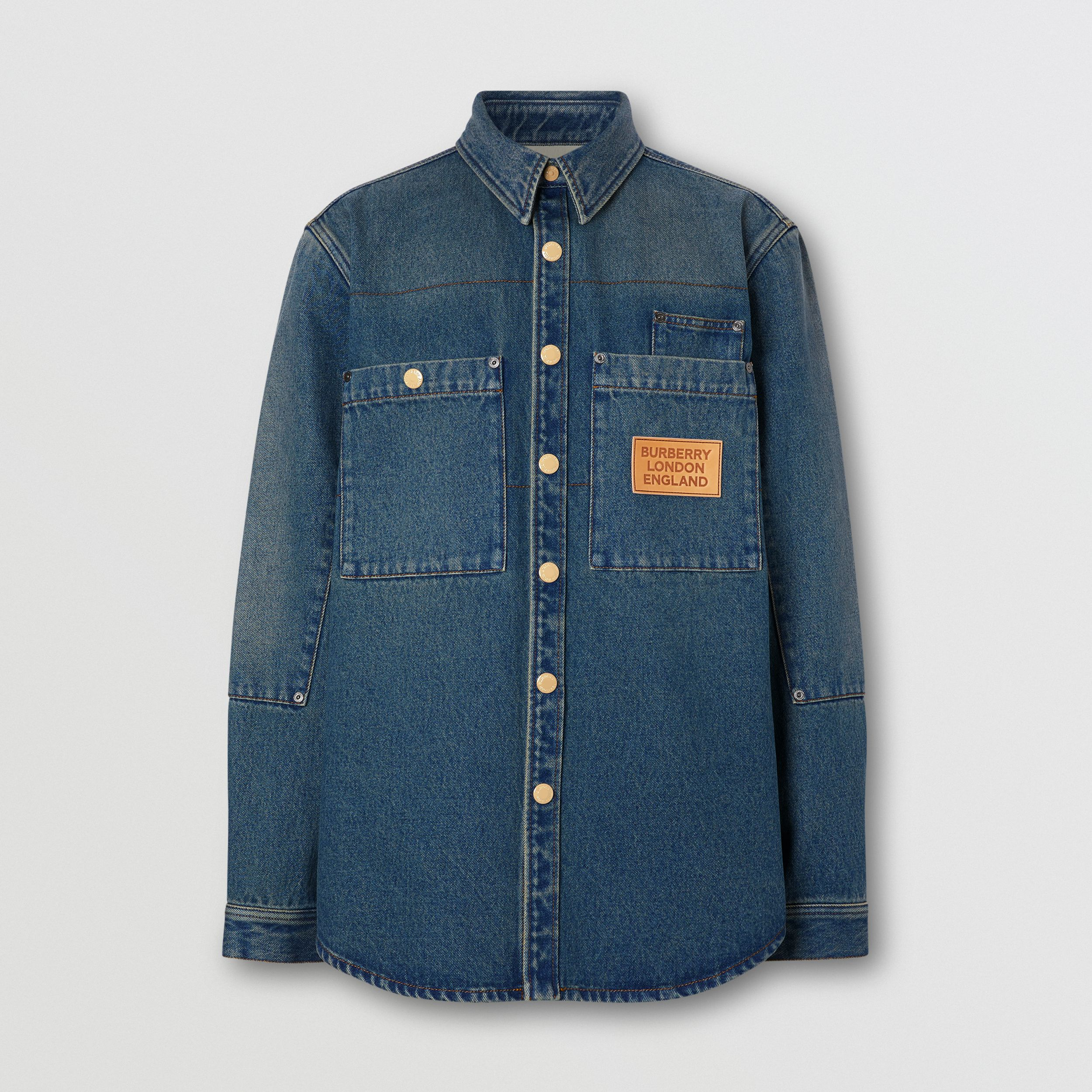 Logo Appliqué Denim Shirt in Indigo - Men | Burberry - 4