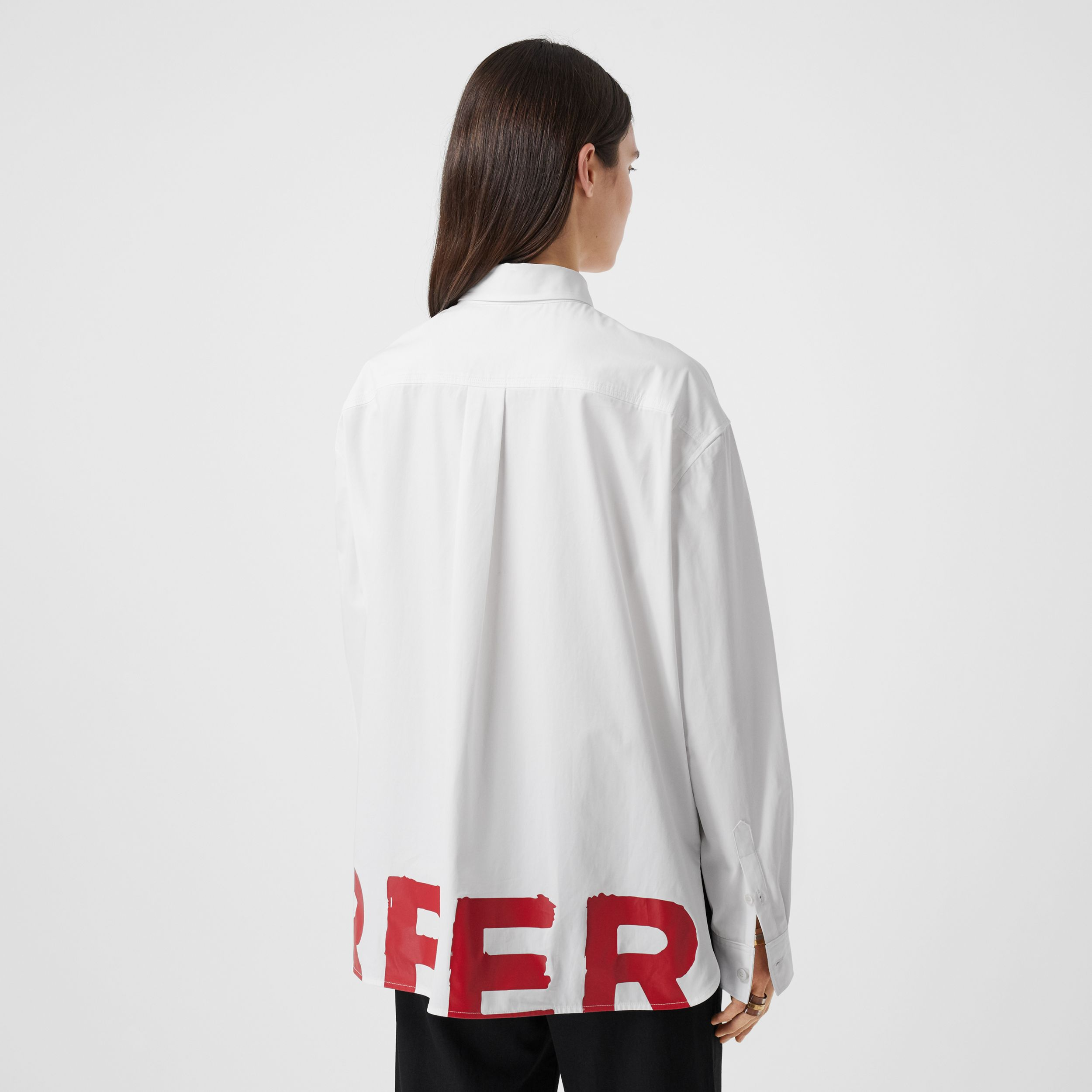 Logo Print Cotton Oversized Shirt in White - Women | Burberry Hong Kong S.A.R. - 3