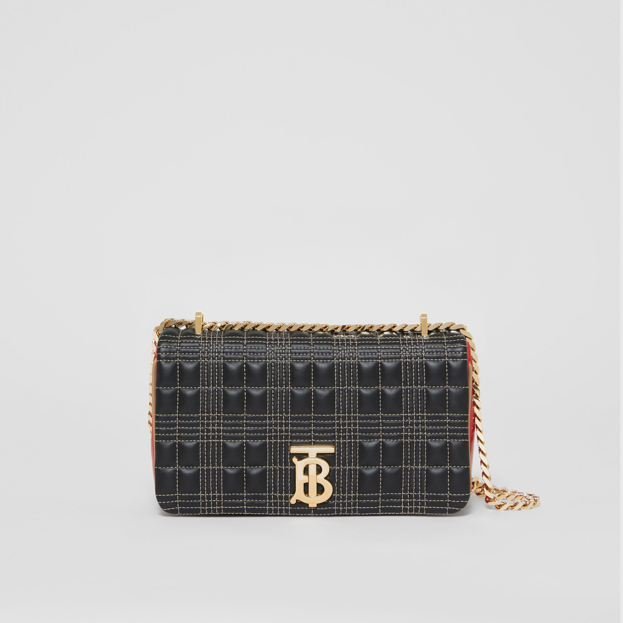 Small Quilted Tri-tone Lambskin Lola Bag in Black/bright Red - Women | Burberry - 1