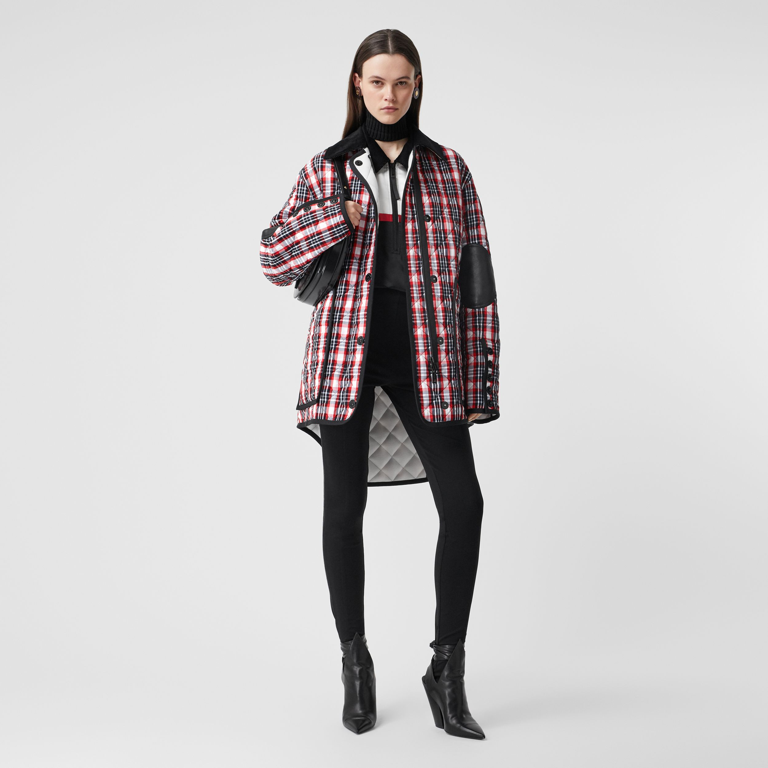 Diamond Quilted Tartan Oversized Barn Jacket in Bright Red - Women | Burberry Australia - 1