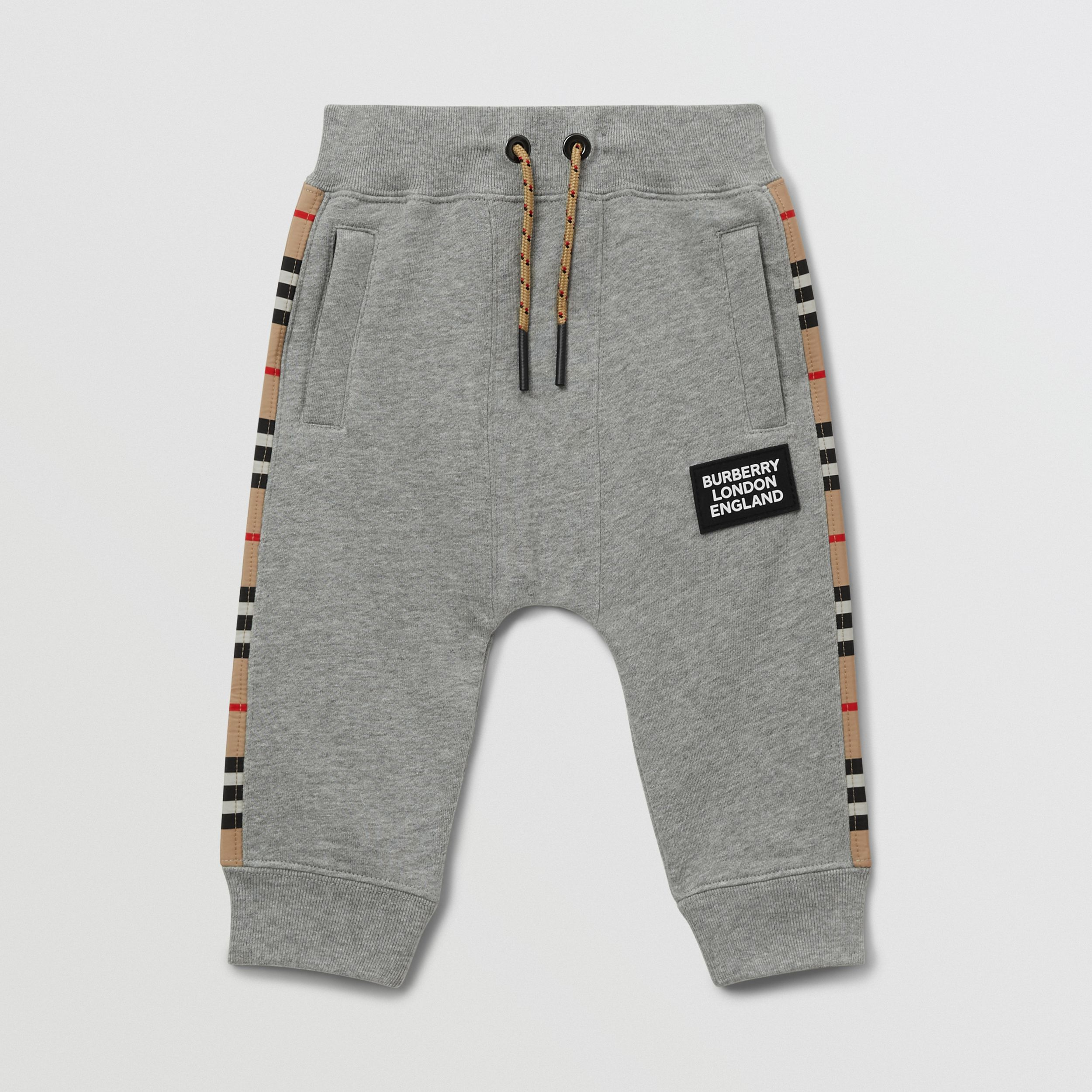 Icon Stripe Panel Cotton Jogging Pants in Grey Melange - Children | Burberry - 1