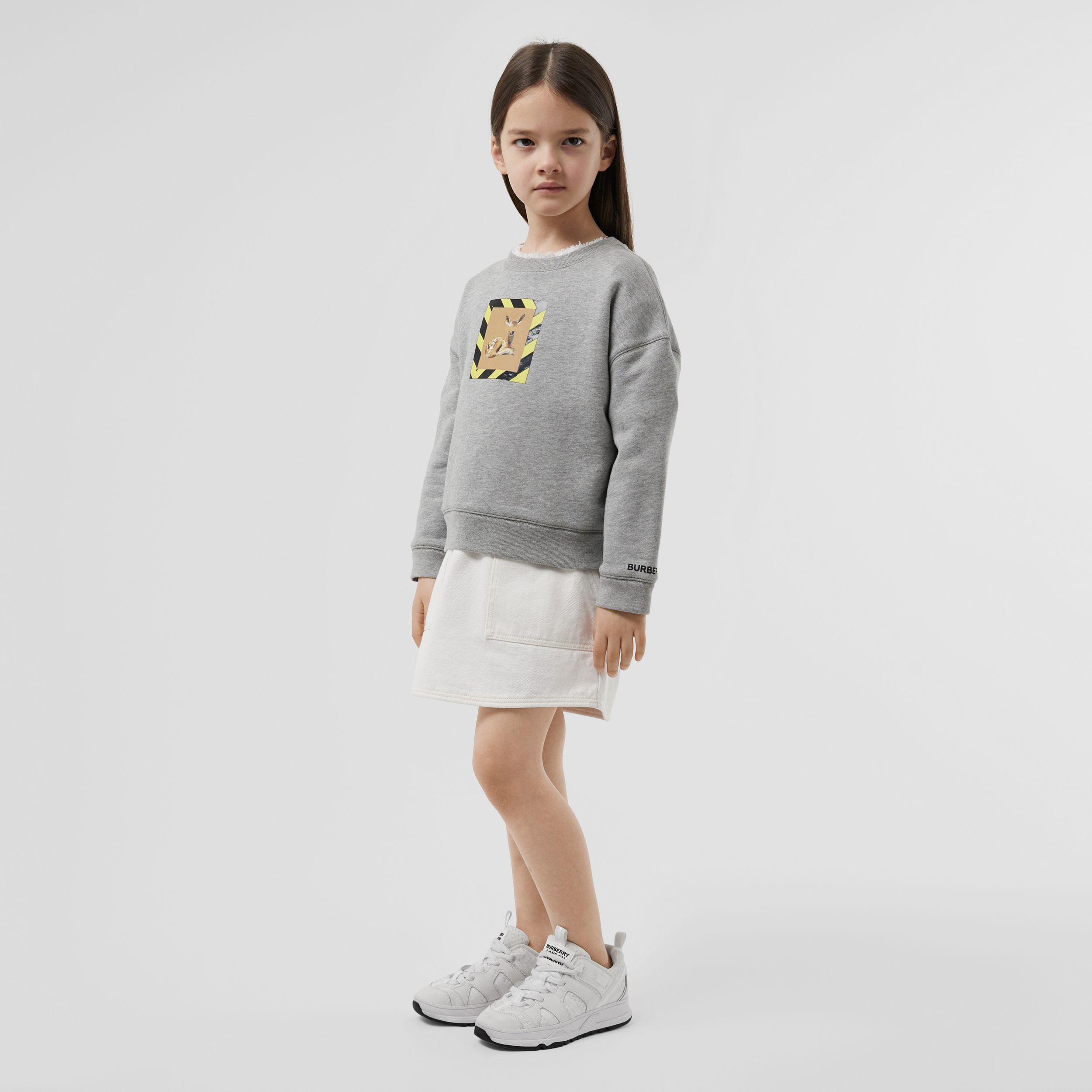 Deer Print Cotton Sweatshirt in Grey Melange | Burberry - 3
