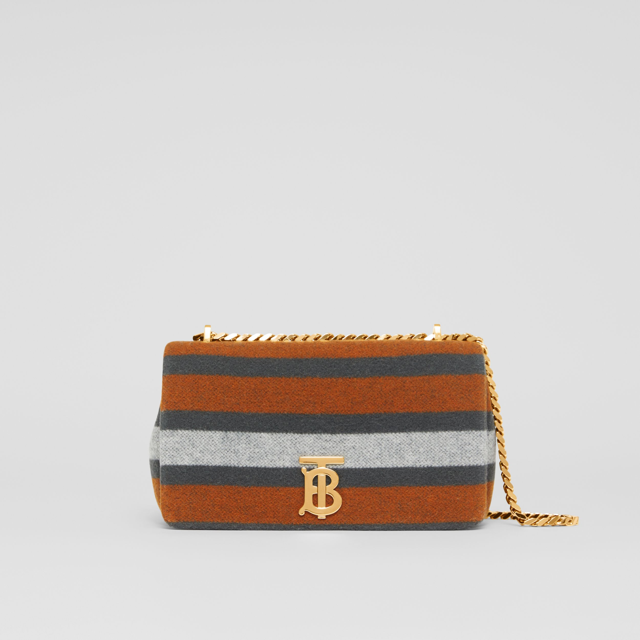 Small Striped Wool Lola Bag in Grey/orange - Women | Burberry - 1