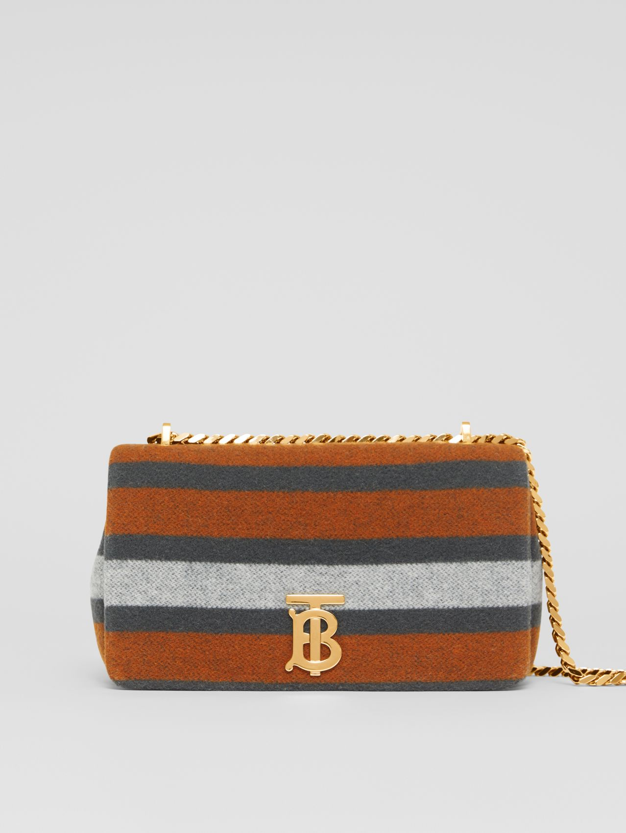 Small Striped Wool Lola Bag in Grey/orange