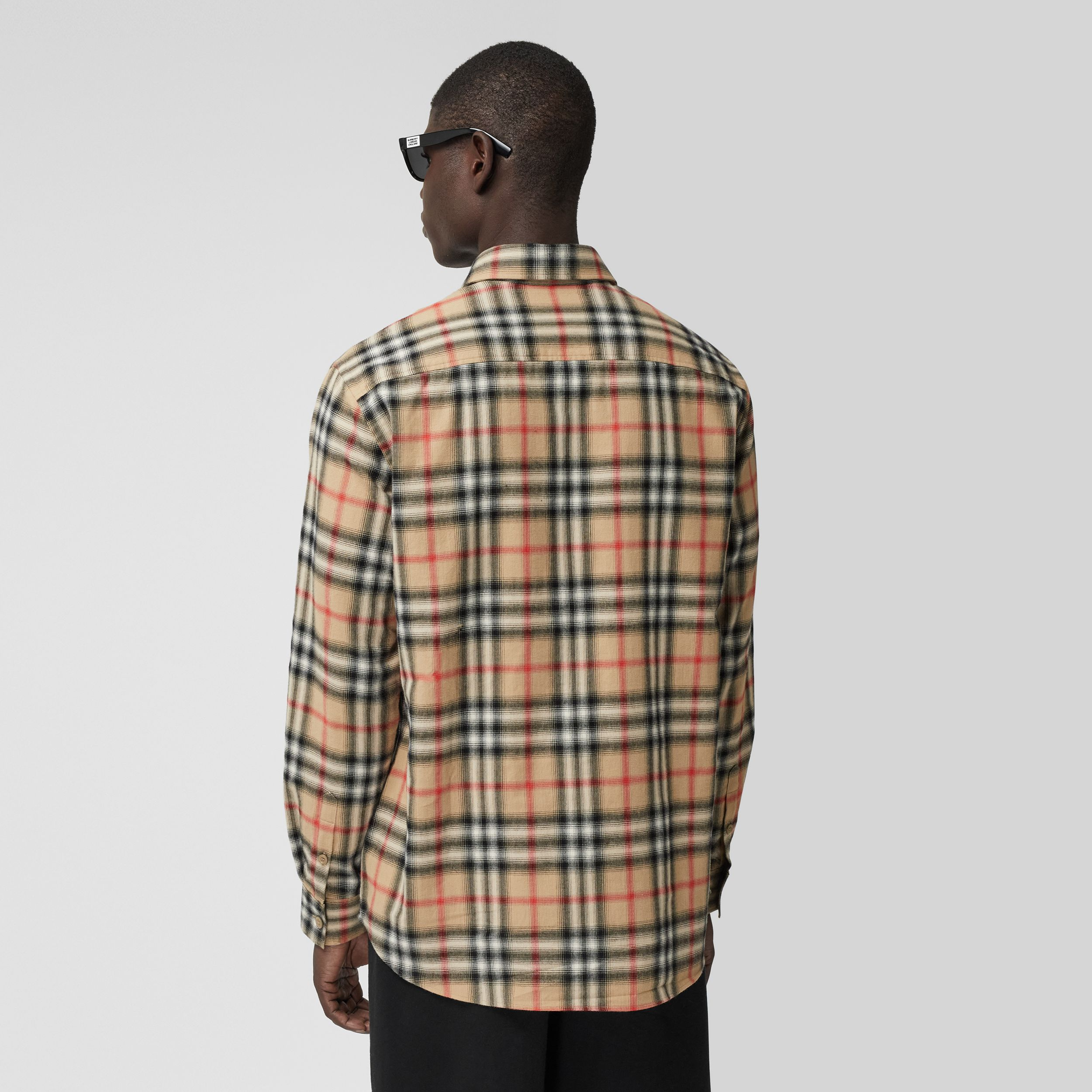 Ombré Check Cotton Flannel Oversized Shirt in Archive Beige - Men | Burberry United Kingdom - 3