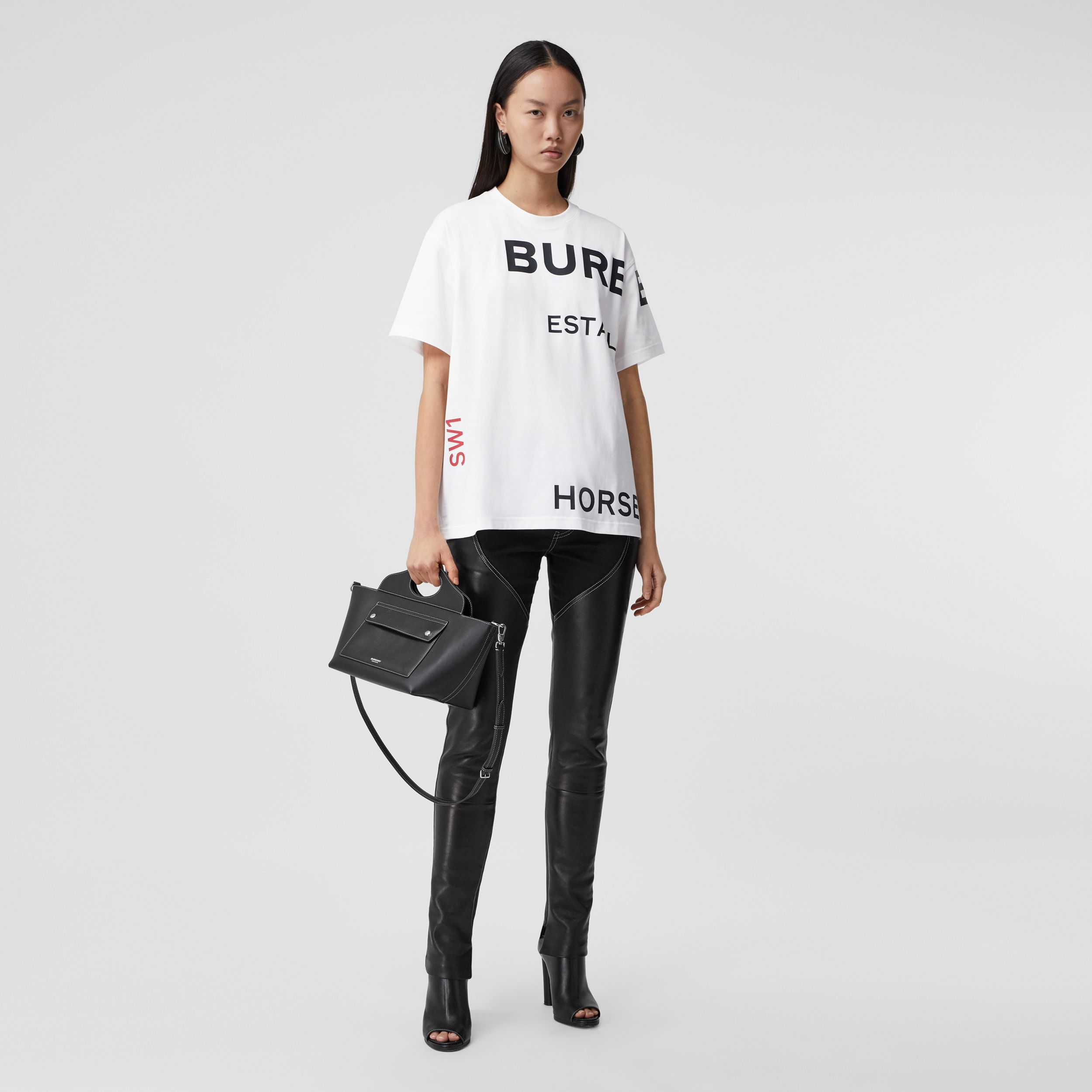 Horseferry Print Cotton Oversized T-shirt in White - Women | Burberry Australia - 1