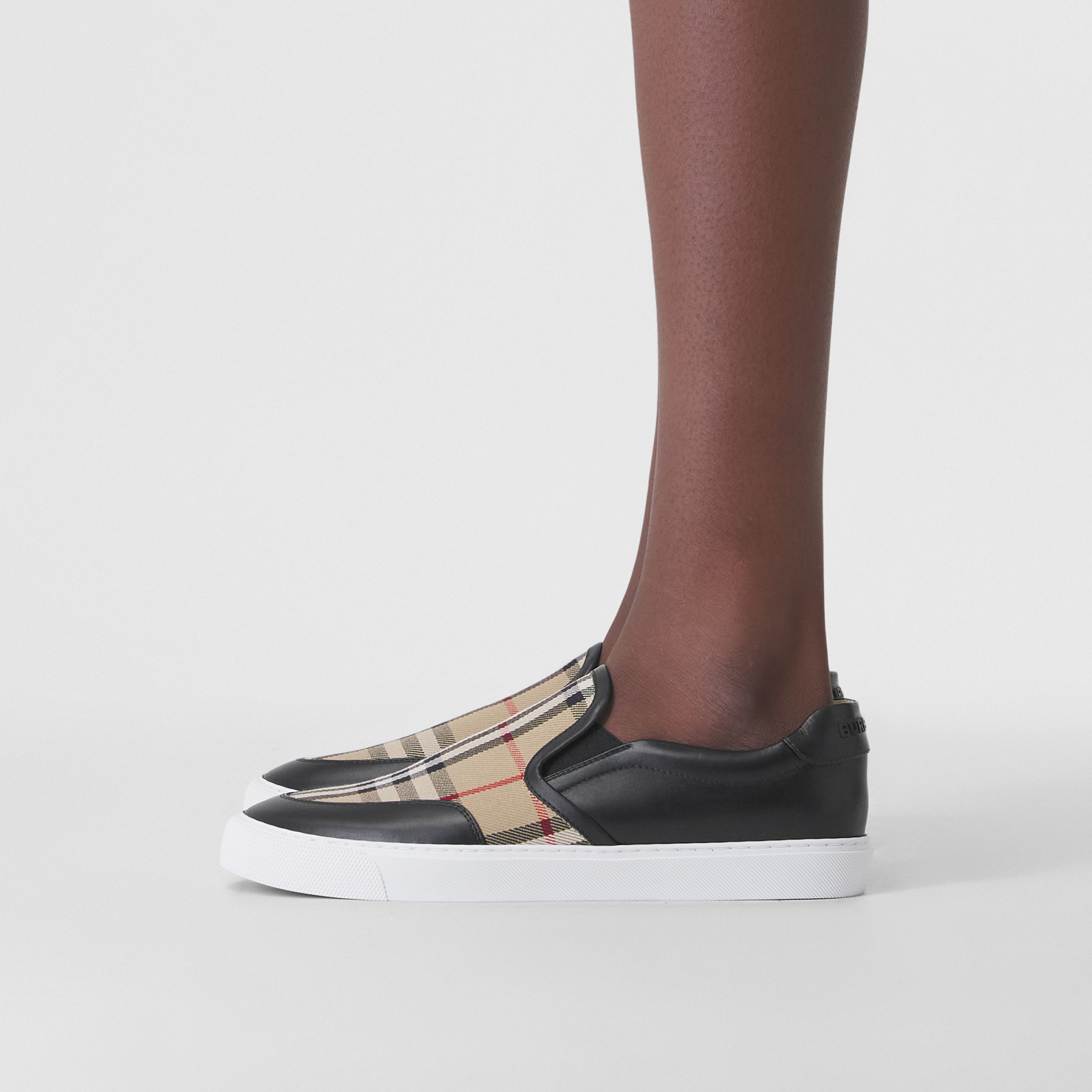 Leather and Vintage Check Slip-on Sneakers in Black - Women | Burberry - 3