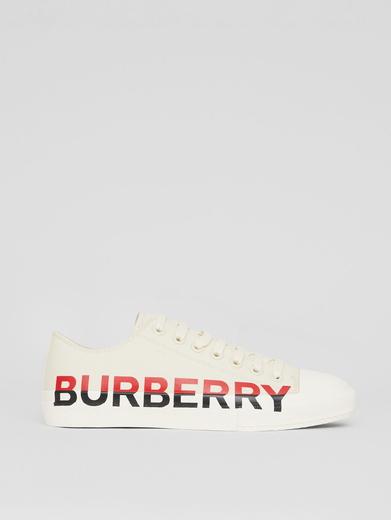 Logo Print Cotton Canvas Sneakers in Cream