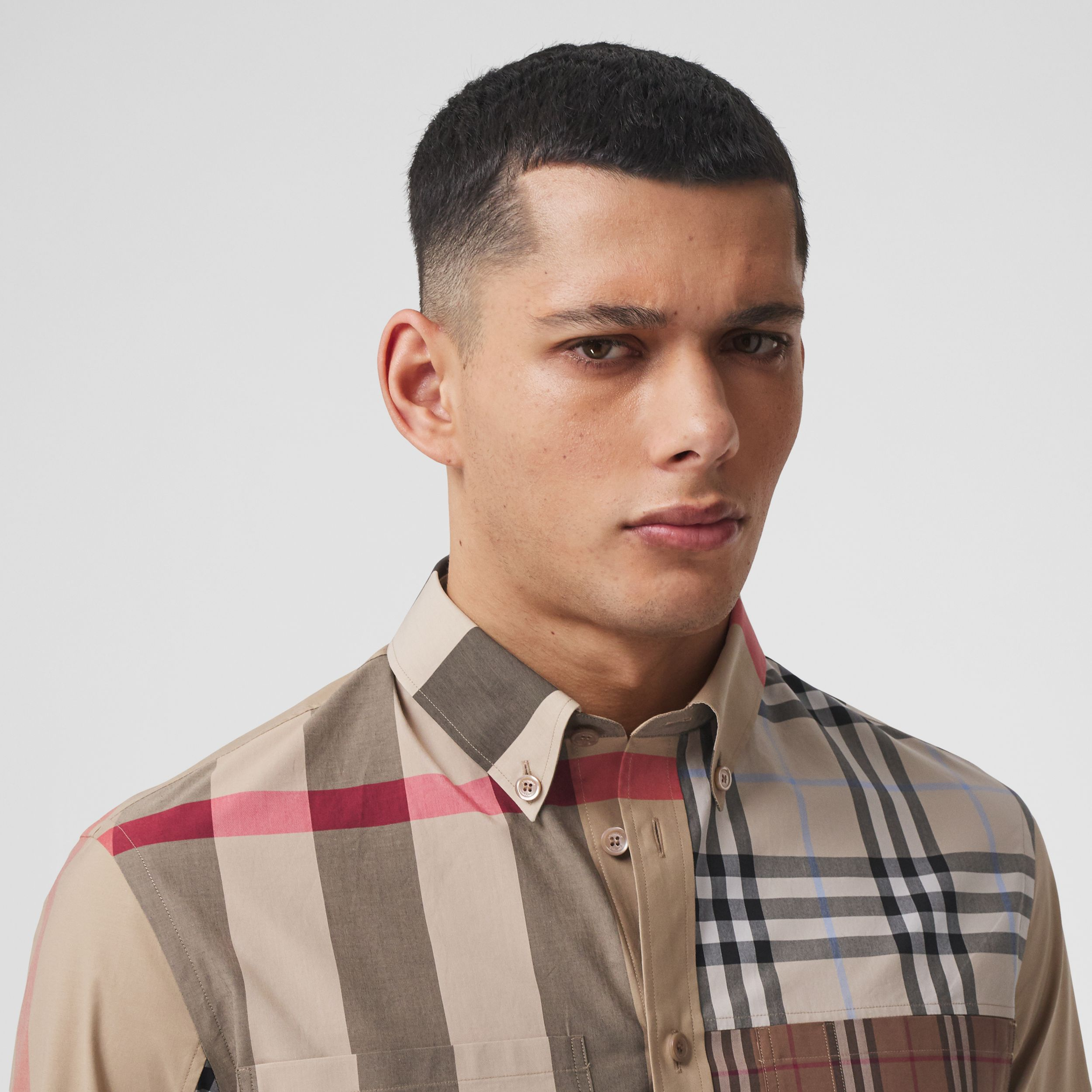 Contrast Check Stretch Cotton Poplin Shirt in Light Almond - Men | Burberry - 2
