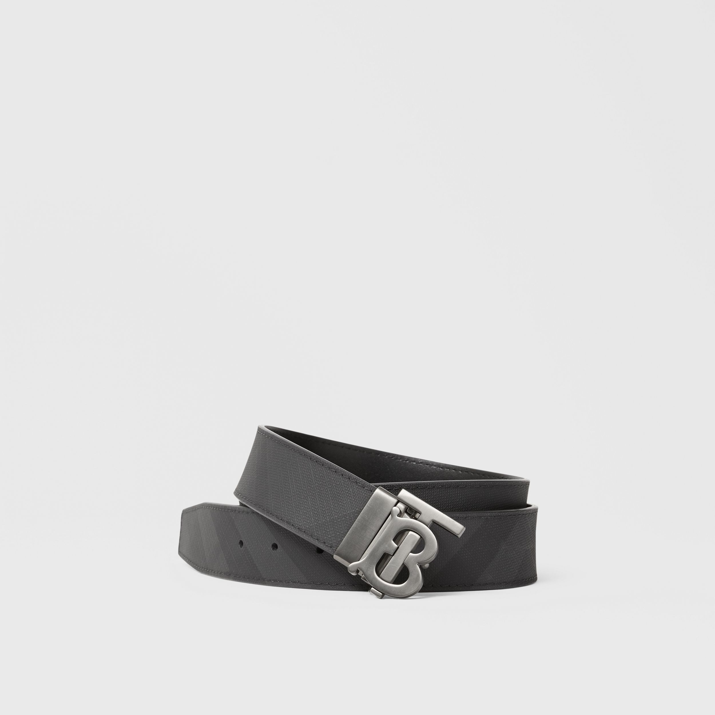 Reversible Monogram Motif London Check Belt in Dark Charcoal - Men | Burberry - 1