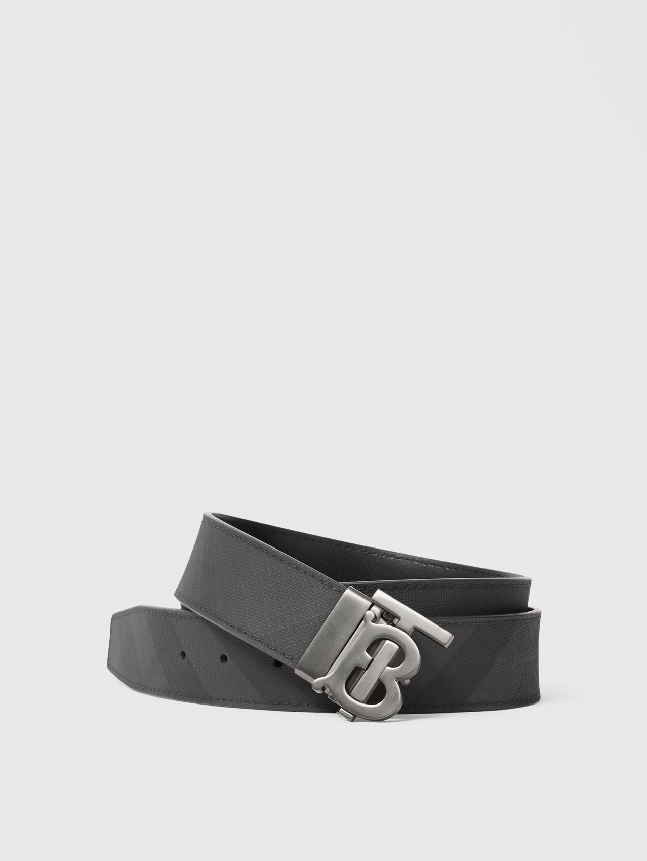 Reversible Monogram Motif London Check Belt in Dark Charcoal