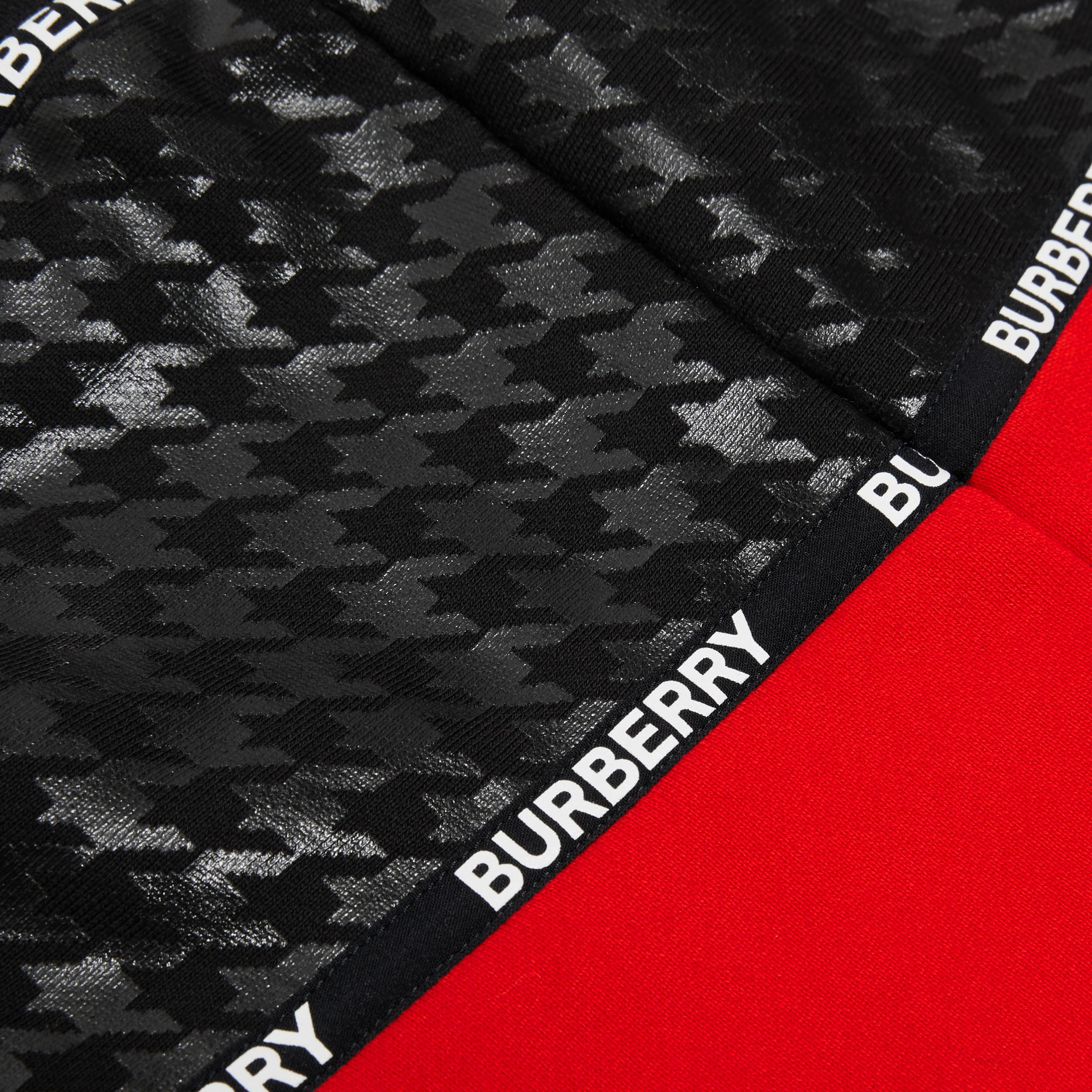 Houndstooth Check Panel Cotton Shorts in Bright Red | Burberry Hong Kong S.A.R. - 2
