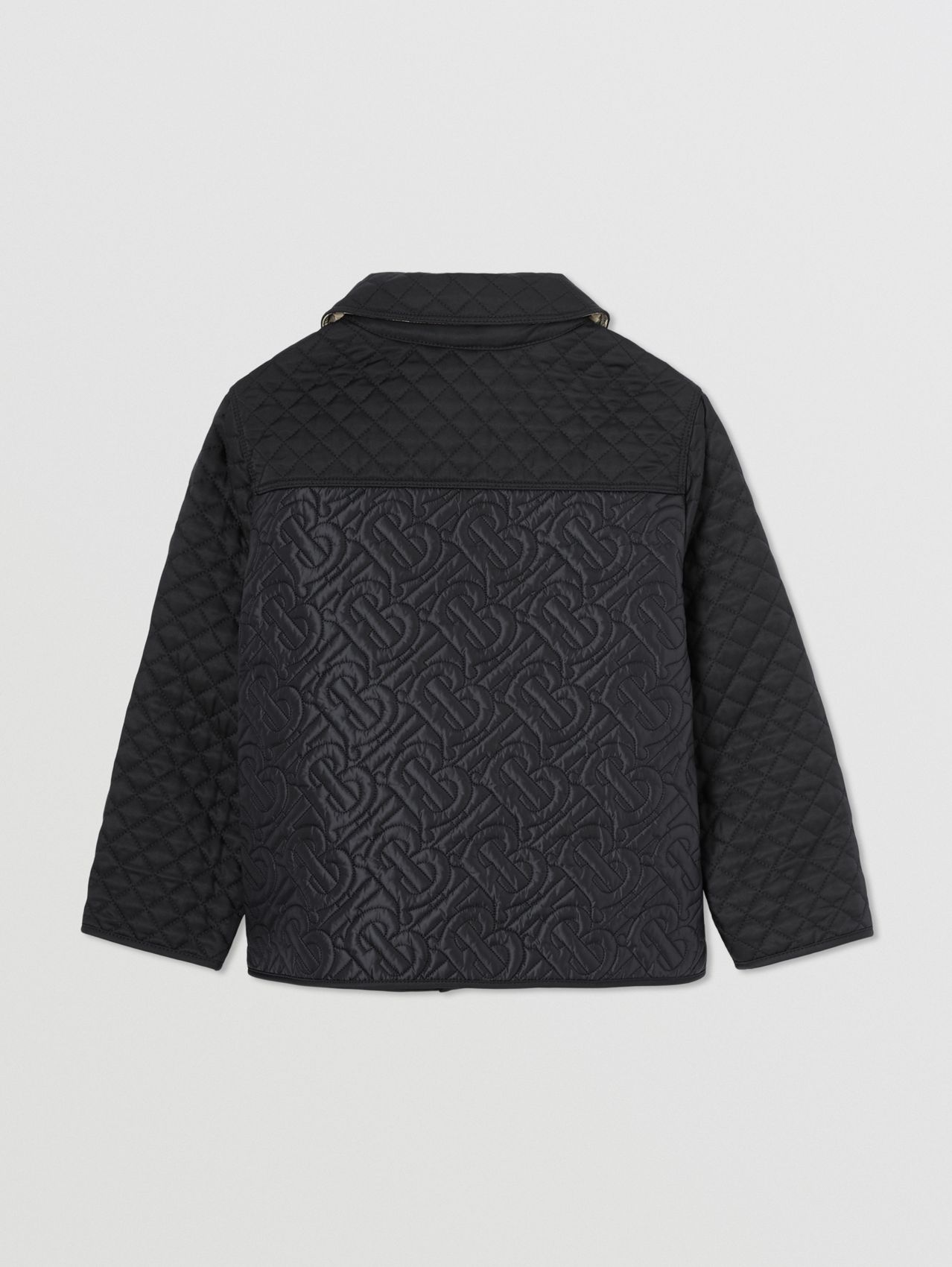 Monogram Quilted Panel Recycled Polyester Jacket in Black
