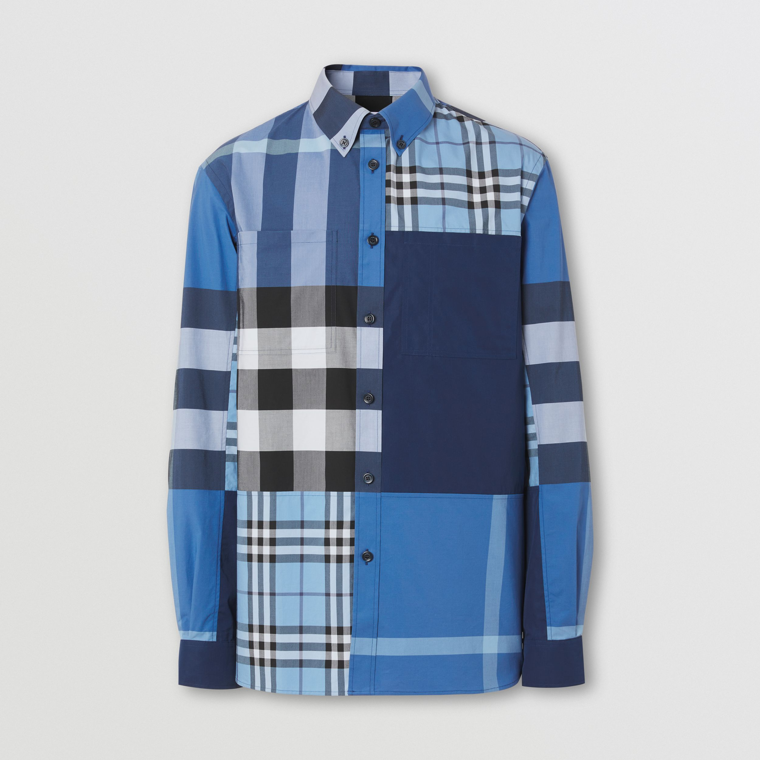 Patchwork Check Cotton Poplin Shirt in Vivid Cobalt - Men | Burberry United Kingdom - 4